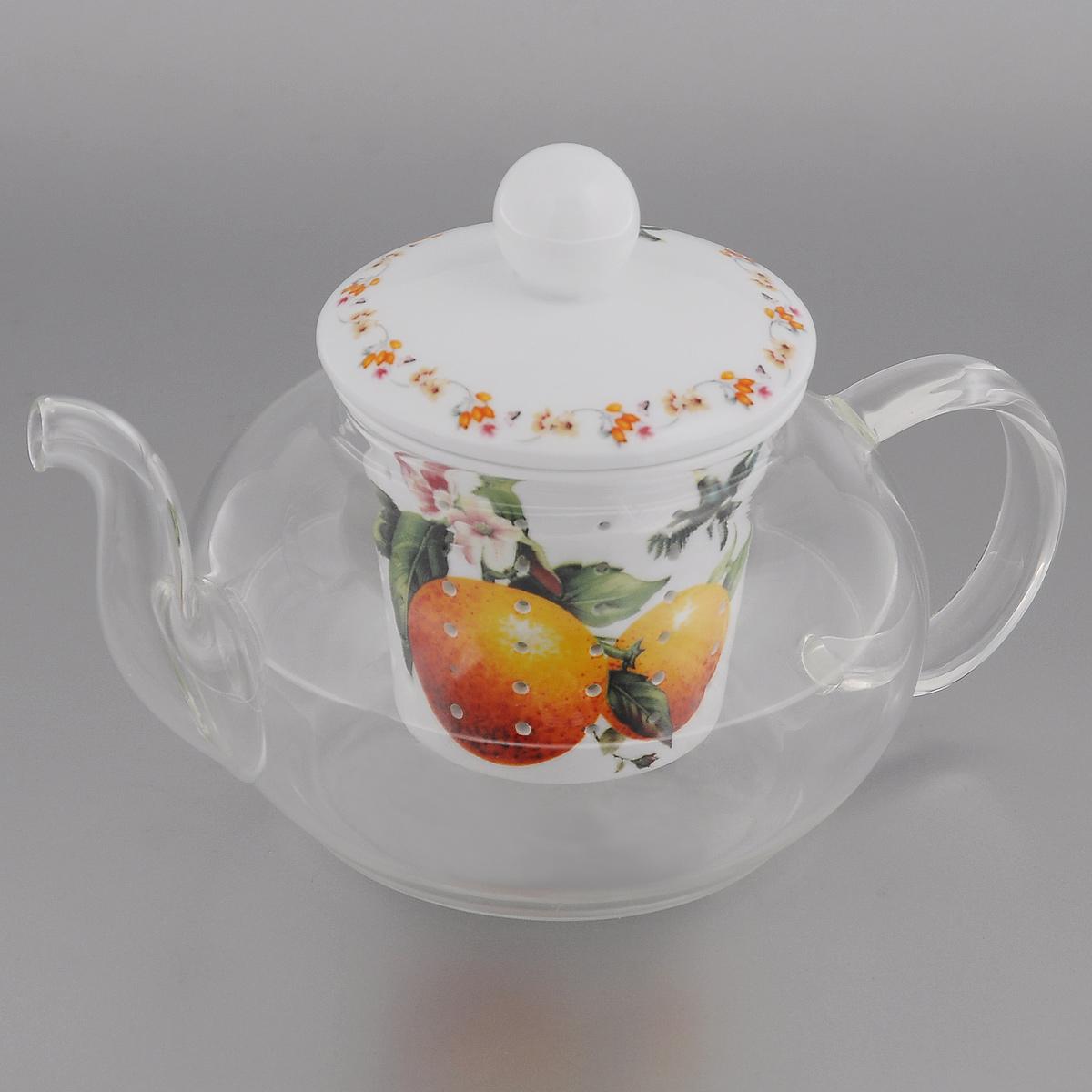 Чайник заварочный Lillo Апельсин, 600 млAW 12Заварочный чайник Lillo Апельсин изготовлен из жаропрочного стекла, которое хорошо удерживает тепло, даже если стенки достаточно тонкие. Чайник снабжен крышкой и съемным фильтром для заварки, выполненными из керамики с изящным изображением апельсинов. Благодаря маленьким отверстиям фильтр предотвращает попадание чаинок и листочков в настой. Чайник сочетает в себе оригинальный дизайн и функциональность. Он поможет заварить вкусный и аромат чай, а стильный дизайн красиво дополнит сервировку стола к чаепитию. Нельзя мыть в посудомоечной машине. Можно использовать в микроволновой печи. Диаметр (по верхнему краю): 7 см. Высота чайника: 7,5 см. Высота фильтра: 6,5 см.