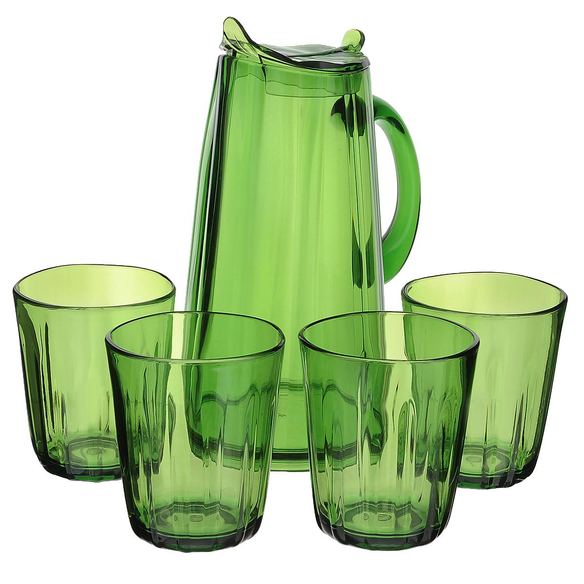 Набор для сока Louis Gourmet Листок, цвет: зеленый, 5 предметовGL 1902Набор для сока Louis Gourmet Листок выполнен из высококачественного пластика. Набор состоит из графина с крышкой и 4 стаканов. Графин и стаканы выполнены в оригинальном дизайне и украсят любой праздничный стол. Благодаря такому набору пить напитки будет еще вкуснее. Набор для сока Louis Gourmet Листок станет также отличным подарком на любой праздник. Высота стенок графина: 23,5 см. Объем графина: 1,75 л. Диаметр графина по верхнему краю: 8 см. Высота стакана: 10,5 см. Объем стакана: 400 мл. Диаметр стакана по верхнему краю: 8,5 см.