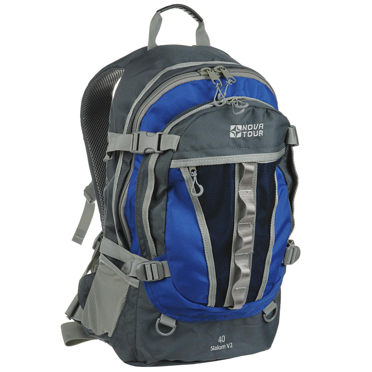 Рюкзак городской Nova Tour Слалом 40 V2, цвет: серый, синий. 13523-462-0013523-462-00Если все, что нужно ежедневно носить с собой, не помещается в обычный рюкзак, то Слалом 40 V2 специально для вас. Два вместительных отделения можно уменьшить боковыми стяжками или наоборот, если что-то не поместилось внутри, навесить снаружи на узлы крепления. Для удобства переноски тяжелого груза на спинке предусмотрена удобная система подушек Air Mesh с полностью отстегивающимся поясным ремнем. Особенности: Прочная ткань с непромокаемой пропиткой. Сетчатый материал, отводящий влагу от вашего тела. Применяется на лямках, спинках и поясе рюкзака. Грудная стяжка для правильной фиксации лямок рюкзака и предотвращения их соскальзывания. Органайзер позволяет рационально разместить мелкие вещи внутри рюкзака. Объем: 40 л.