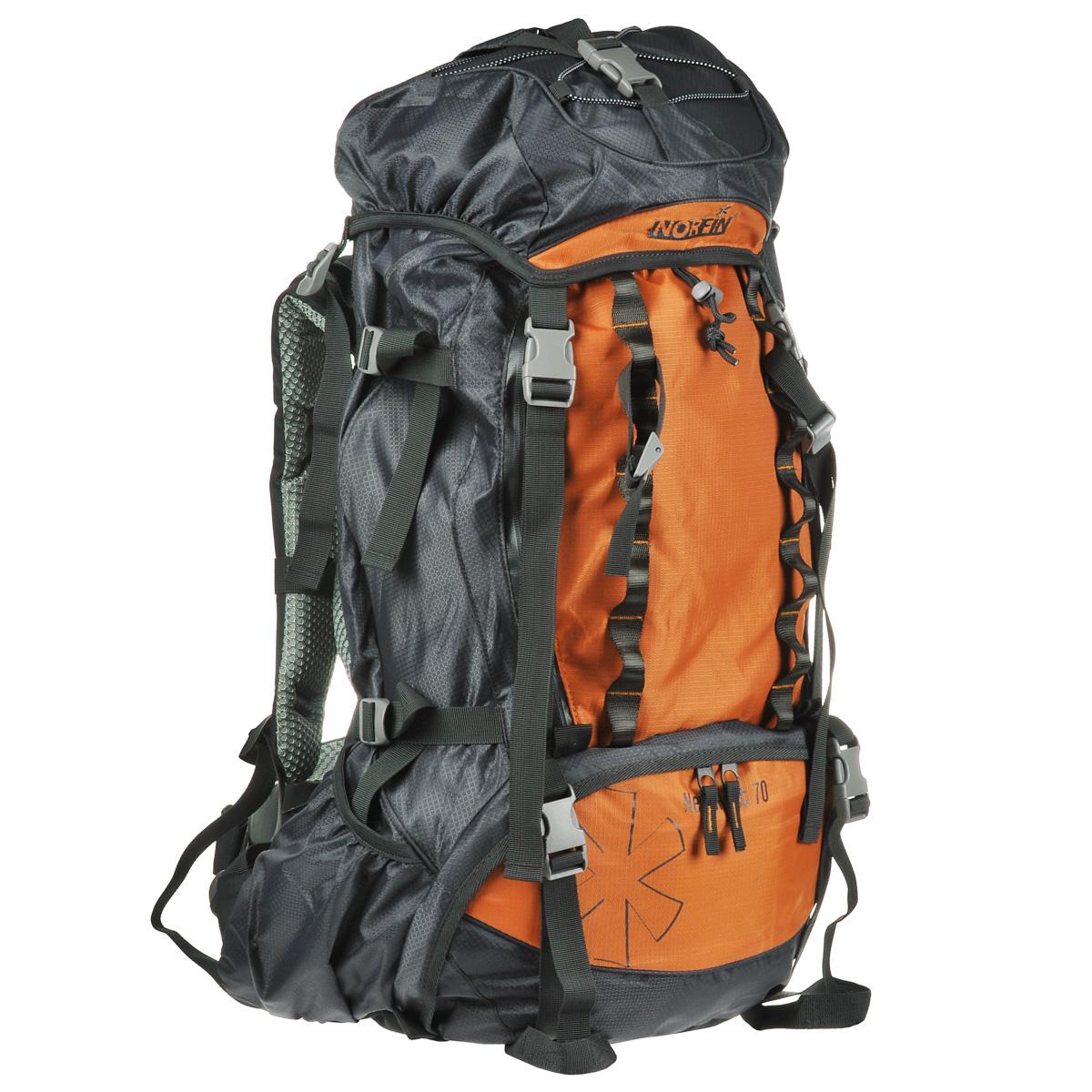 Рюкзак туристический Norfin NeweRest, цвет: серый, оранжевый, 70 лNS-40208Туристический функциональный 70-литровый рюкзак Norfin NeweRest отлично подойдет для походов и путешествий. Особенности рюкзака: Анатомический съемный пояс. Отлично сидит на бедрах, хорошо перераспределяет нагрузку Регулируемая подвесная система AL-R Грудная стяжка Алюминиевые латы Выход под питьевую систему Основное отделение с разделителем на молнии позволит удобно распределить содержимое рюкзака Помимо верхнего и нижнего входов в основное отделение, по всей передней части рюкзака проходит молния, которая раскрывает его как чемодан. Нижние боковые карманы для фиксирования длинномерных грузов имеют боковые стяжки Плавающий верхний клапан с внешним и внутренним карманами Чехол-дождевик в кармане на дне Возможность крепления трекинговых палок.