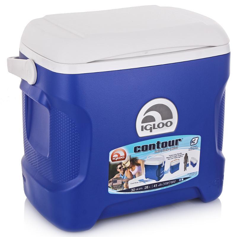 Изотермический контейнер Igloo Contour, цвет: синий, 28 л44642Легкий и прочный изотермический контейнер Igloo Contour, изготовленный из высококачественного пластика, предназначен для транспортировки и хранения продуктов и напитков. Корпус гладкий, эргономичного дизайна, ударопрочный. Поддержание внутреннего микроклимата обеспечивается за счет двойной термоизоляционной прокладки из пены Ultra Therm, способной удерживать температуру внутри корпуса до 3-х дней. Для поддержания температуры рекомендуется использовать аккумуляторы холода (в комплект не входят). Контейнер имеет усиленную поворотную ручку с фиксацией и широко открывающуюся крышку для легкого доступа к продуктам. Крышка плотно и герметично закрывается. Литые ручки по бокам для удобства погрузки и разгрузки из багажника автомобиля. Такой контейнер можно взять с собой куда угодно: на отдых, пикник, на дачу, катание на лодке и т.д. Он имеет компактные размеры и не займет много места.