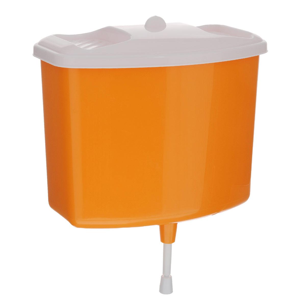 Рукомойник Альтернатива, цвет: оранжевый, 5 лM367Рукомойник Альтернатива изготовлен из пластика. Он предназначен для умывания в саду или на даче. Яркий и красочный, он отлично впишется в окружающую обстановку. Петли предоставляют вертикальное крепление рукомойника. Изделие оснащено крышкой, которая предотвращает попадание мусора. Также на крышке имеется две выемки для мыла. Рукомойник Альтернатива надежный и удобный в использовании. Размер рукомойника: 26,5 см х 15 см. Высота (без учета крышки): 23 см.