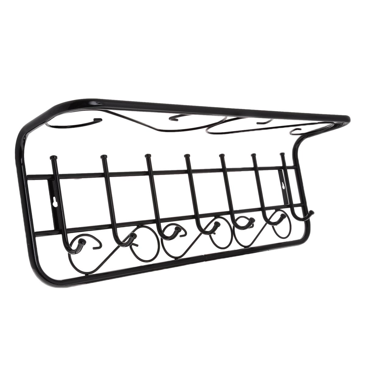 Вешалка настенная ЗМИ Ажур, с полкой, 7 крючковВСПА 203Металлическая вешалка с полимерным покрытием ЗМИ Ажур оснащена семью крючками для одежды и полкой, на которую можно положить головные уборы или другие аксессуары. Крепится к стене при помощи двух шурупов (не входят в комплект). Вешалка ЗМИ Ажур идеально подходит для маленьких прихожих и ограниченных пространств.