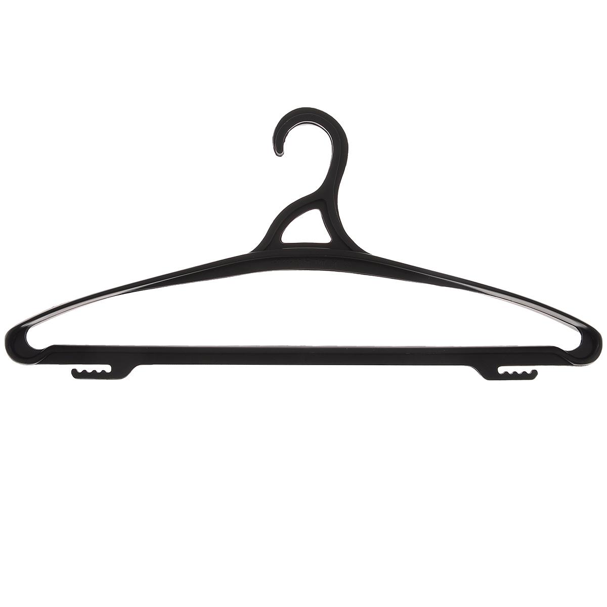 Вешалка для одежды Бытпласт, цвет: черный, размер 48-50С12022Вешалка для одежды Бытпласт выполнена из прочного пластика. Изделие оснащено перекладиной и боковыми крючками. Вешалка - это незаменимая вещь для того, чтобы ваша одежда всегда оставалась в хорошем состоянии. Размер одежды: 48-50.