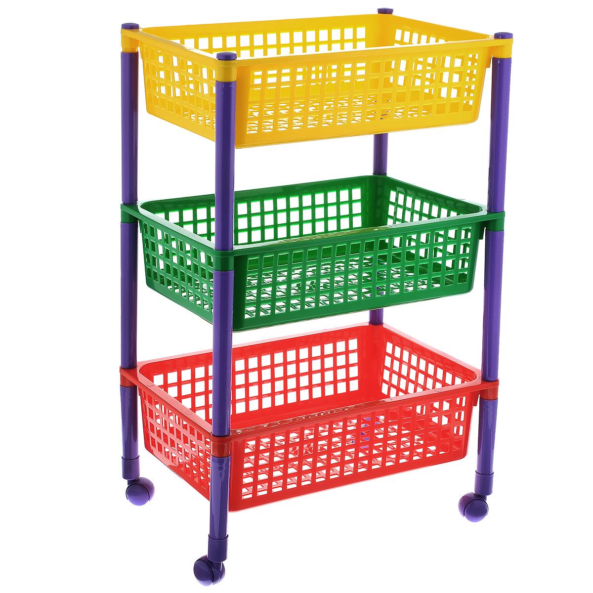 Контейнер для игрушек Малыш, 3-х секционный, на колесиках, 44 x 31 x 70 смС360Контейнер Малыш, выполненный из высококачественного пластика, предназначен для хранения игрушек. Контейнер состоит из трех перфорированных секций разного цвета. Вместительные полки позволят компактно хранить детские игрушки, а также защитят их от пыли, грязи и влаги. Контейнер оснащен колесиками, поэтому его очень легко двигать. Размер в сложенном виде: 44 см х 31 см х 20 см. Размер в собранном виде: 44 см x 31 см x 70 см. Размер корзинки: 44 см x 31 см x 12 см.
