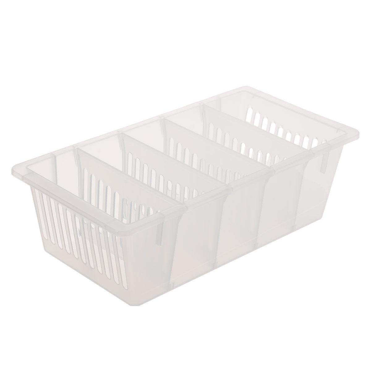 Контейнер для специй Полимербыт, цвет: прозрачный, 28,5 см х 14 см х 8,5 смС368Контейнер для специй Полимербыт, изготовленный из высококачественного прочного пластика, оснащен переставными перегородками. Стенки контейнера снабжены высокими бортиками. Контейнер с пятью отделениями внутри идеально подходит для хранения различных специй в пакетиках. Практичный контейнер пригодится в любом хозяйстве и поможет аккуратно хранить все приправы. Размер отделения: 12,5 см х 5 см х 8,5 см.
