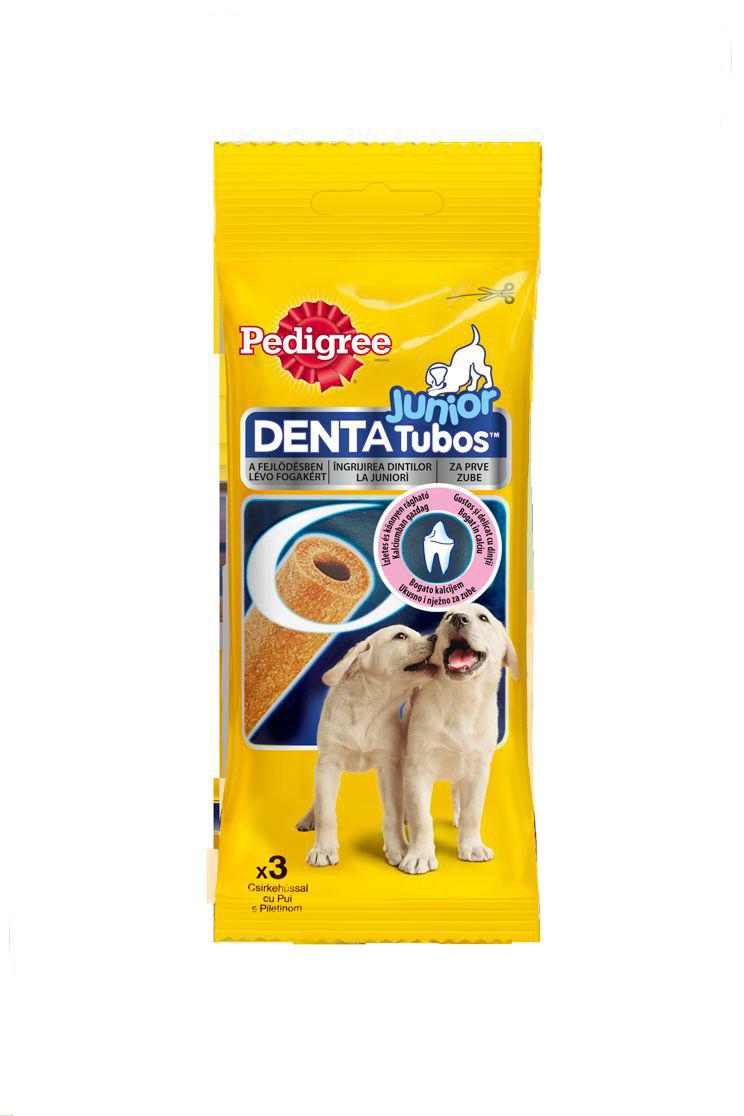 Лакомство для щенков Pedigree Denta Tubos Junior, 3 шт40162Лакомство Pedigree Denta Tubos Junior выполнены в виде жевательных палочек для щенков всех пород со вкусом курицы. Содержит кальций - для укрепления костей и зубов, омега 3 - для шерсти, витамины и минералы - для поддержания природной защиты организма. Состав: злаки, продукты растительного происхождения, мясо и продукты животного происхождения (курица 4%), сахар, экстракты растительного белка, минералы, семена, травы. Содержание полезных веществ и витаминов (в 100 г): белки - 8,0 %, жиры - 1,8 %, зола - 6,0 %, клетчатка - 1,0%, кальций - 0,7 %, моносульфат железа - 54 мг, витамин А - 5777 МЕ, витамин Е - 57 мг, омега 3 - 1160 мг. Количество в упаковке: 3 шт. Вес упаковки: 72 г. Товар сертифицирован.