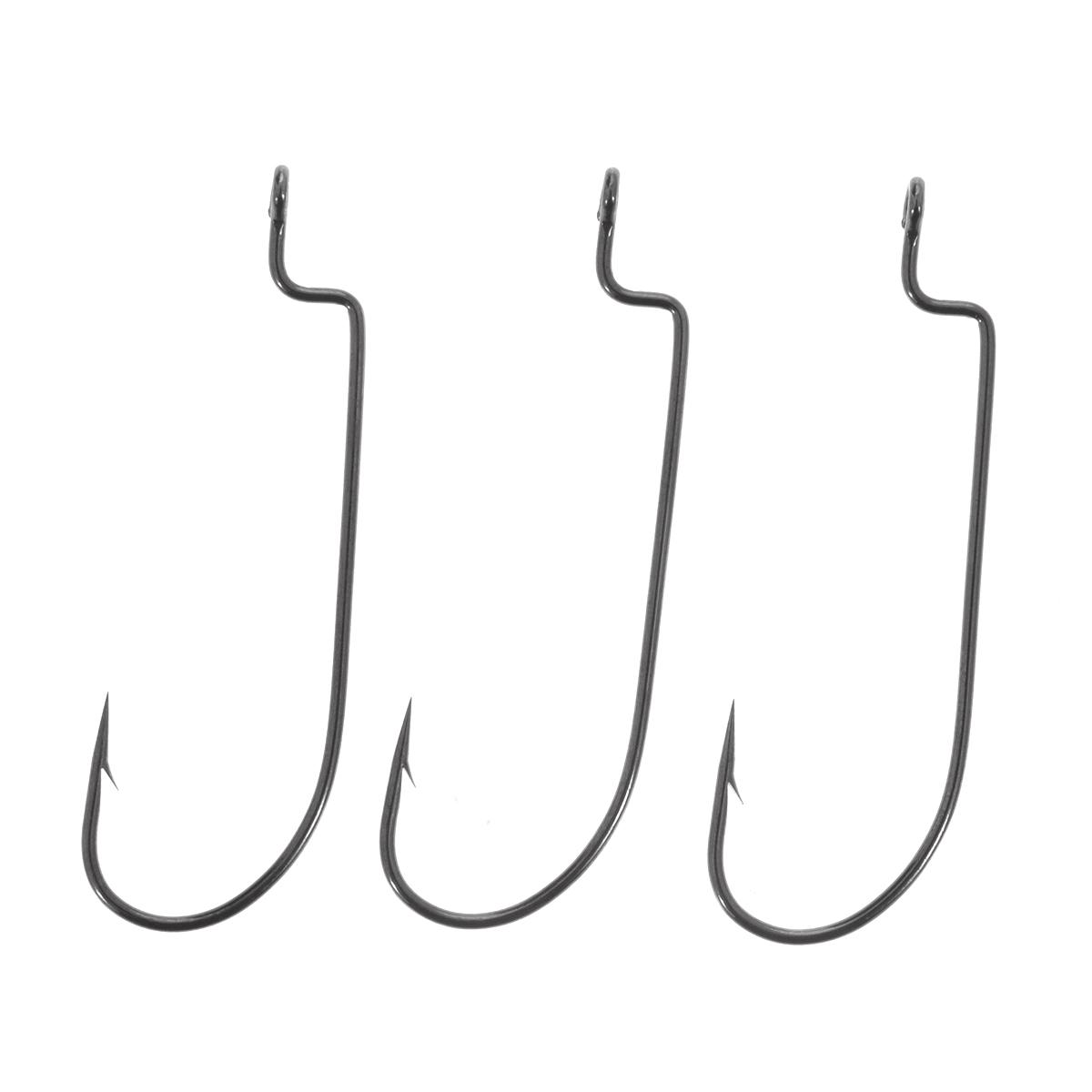 Крючки рыболовные офсетные Cobra L-worm, цвет: черный, размер 3/0, 3 шт2311NSB-K030Cobra L-worm - серия классических офсетных крючков, с круглым загибом, прямым удлиненным цевьем с прямоугольной ступенькой. Высокую популярность эта форма крючка, получила из-за простоты оснащения ими всевозможных мягких пластиковых приманок. Крючки имеют темное, очень стойкое, антикоррозийное покрытие и чрезвычайно остры.