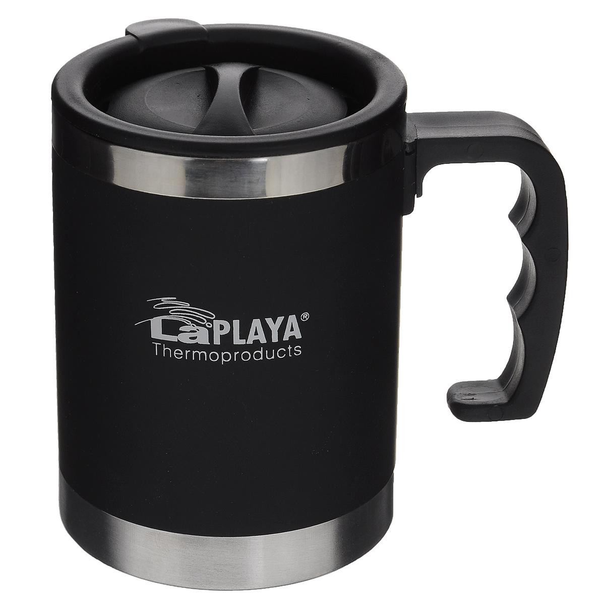 Термокружка LaPlaya TRM 3000, цвет: черный, 400 мл560020Термокружка LaPlaya TRM 3000 изготовлена из пластика и нержавеющей стали. Изделие оснащено крышкой с поворотным механизмом, позволяющим использовать кружку для питья, не снимая крышку. Кружка снабжена эргономичной ручкой. Двойные стенки сохраняют тепло в течение 1 часа, холод - 2-х часов. Термокружка подходит к большинству автомобильных держателей стаканов. Диаметр (по верхнему краю): 8 см. Высота (с учетом крышки): 11,5 см.