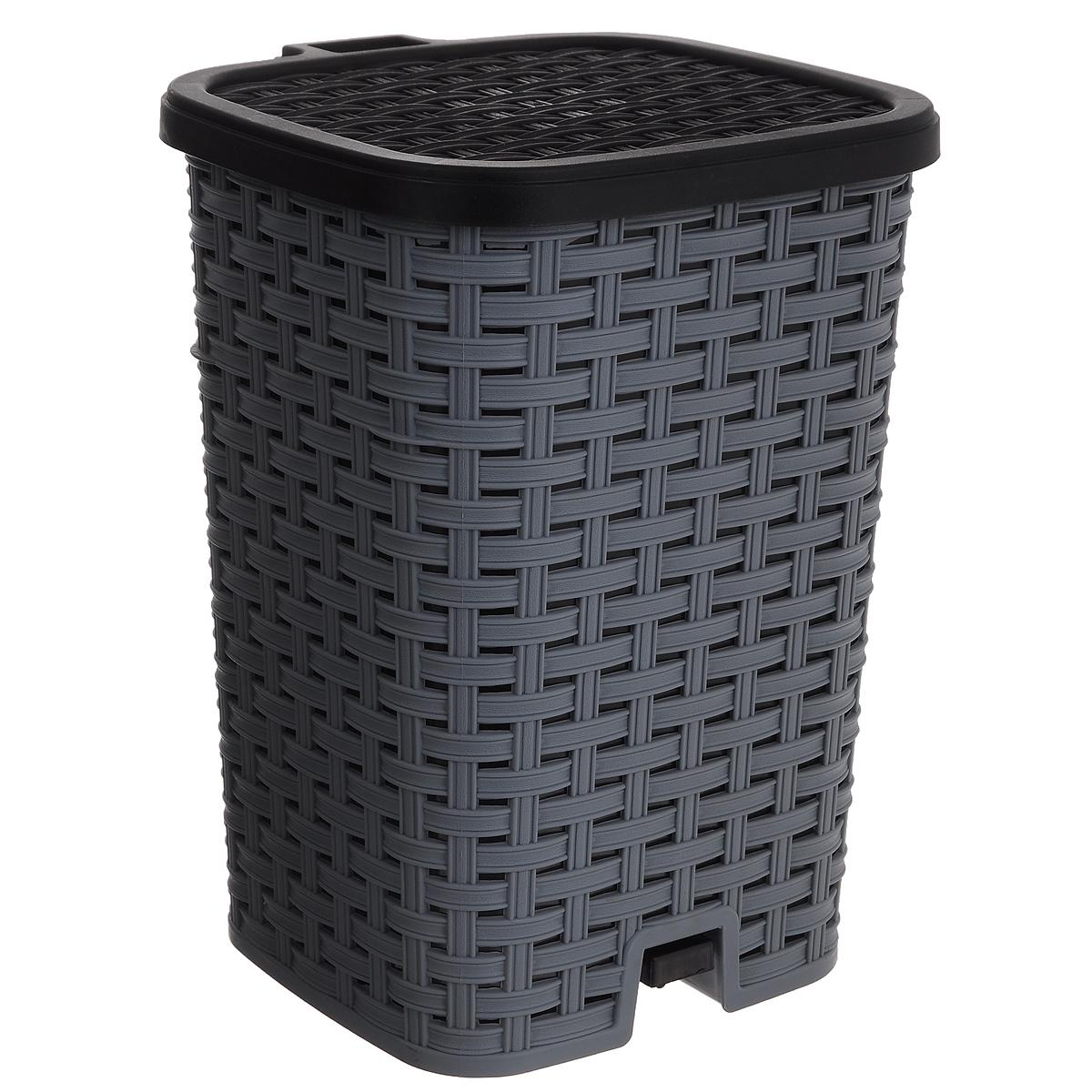 Ведро для мусора Dunya Plastik Раттан, с педалью, цвет: серый, черный, 12 л1053_серый-черныйВедро для мусора Dunya Plastik Раттан, выполненное из прочного пластика, обеспечит долгий срок службы и легкую чистку. Ведро поможет вам держать мелкий мусор в порядке и предотвратит распространение неприятного запаха. Откидная пластиковая крышка открывается и закрывается при помощи педали. Изделие выполнено в виде плетеной корзины с пластиковой вынимающейся емкостью для мусора внутри. Размер ведра (по верхнему краю): 24 см х 22 см. Высота (без учета крышки): 33 см. Высота (с учетом крышки): 34,5 см.