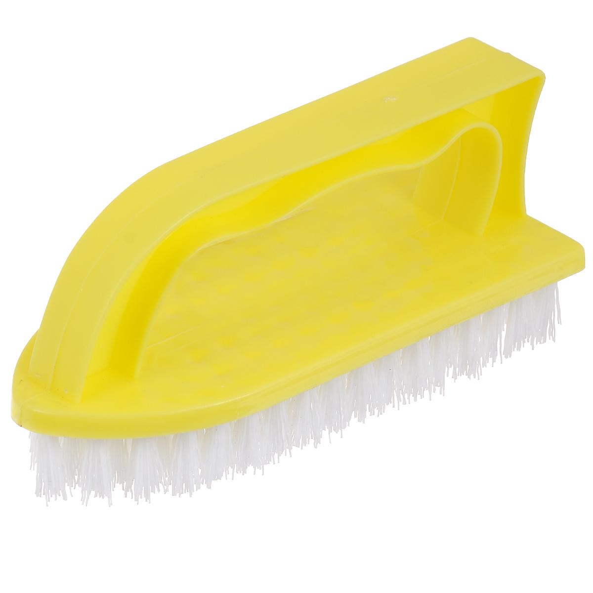 Щетка Home Queen Утюг, универсальная, цвет: желтый. 8787Щетка Home Queen Утюг, выполненная из полипропилена и нейлона, является универсальной щеткой для очистки поверхностей ванной комнаты и кухни. Оснащена удобной ручкой. Длина ворсинок: 2,5 см.