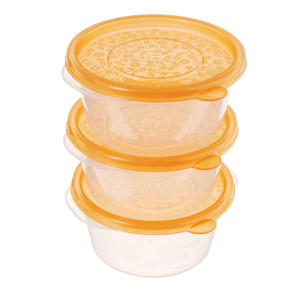Набор контейнеров Phibo Арт-Декор, 0,44 л, 3 штС11540Контейнеры Phibo Арт-Декор изготовлены из высококачественного полипропилена и не содержат Бисфенол А. Крышка легко и плотно закрывается, украшена узором в виде цветков. Контейнер устойчив к воздействию масел и жиров, легко моется. Подходит для использования в микроволновых печах при температуре до +100°С, выдерживает хранение в морозильной камере при температуре -24°С, его можно мыть в посудомоечной машине при температуре до +95°С. Комплектация: 3 шт. Объем контейнера: 0,44 л.