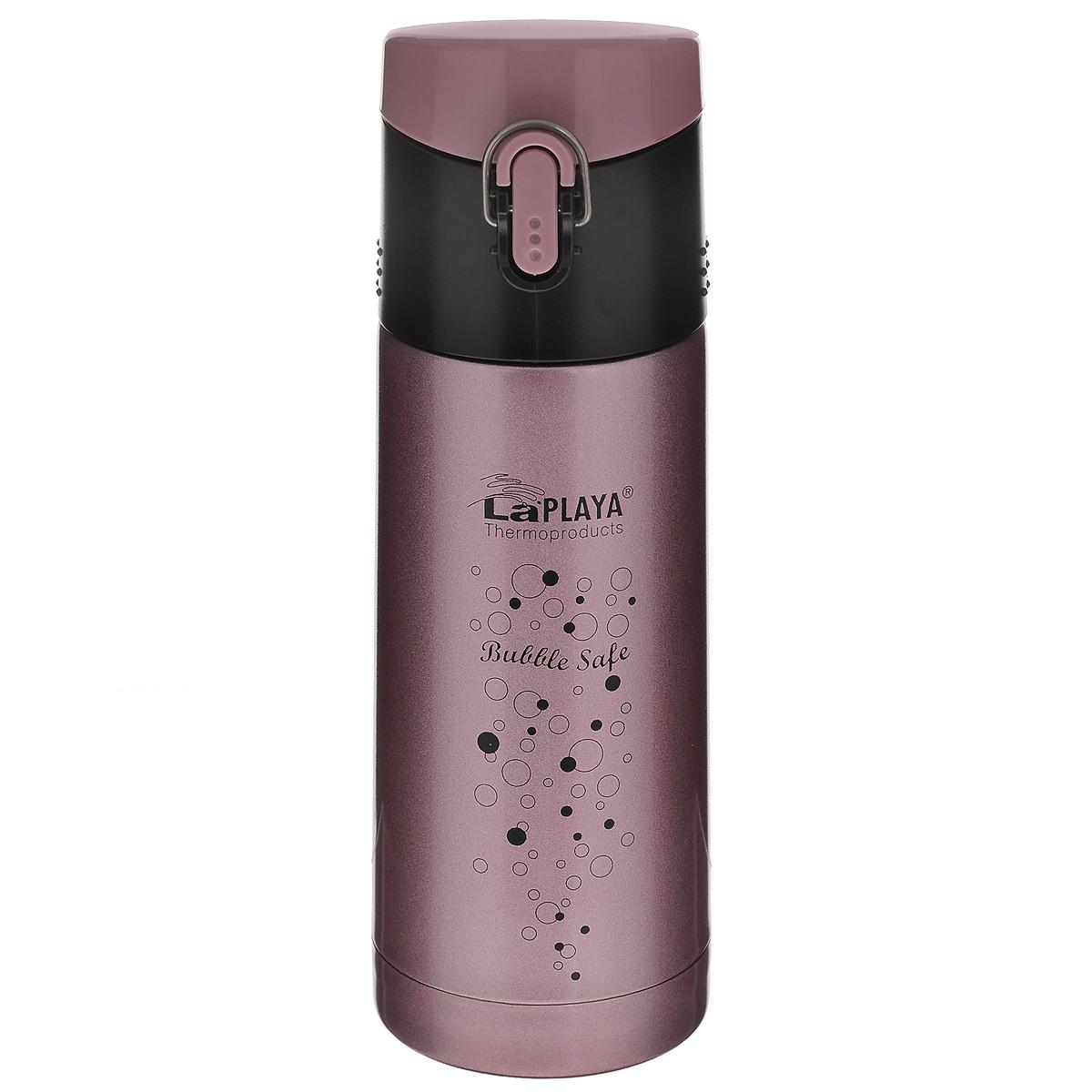 Термос LaPlaya Bubble Safe, цвет: розовый, 350 мл560066Термос с узким горлом LaPlaya Bubble Safe, изготовленный из высококачественной нержавеющей стали 18/8, является простым в использовании, экономичным и многофункциональным. Термос с двухстеночной вакуумной изоляцией, предназначенный для хранения горячих и холодных напитков (чая, кофе), сохраняет их до 6 часов горячими и холодными в течении 12 часов. Идеально подойдет для прохладительных газированных напитков. Герметичная и гигиеничная пробка-крышка открывается одной рукой. При открывании стопор предотвращает резкий выход газов и расплескивание напитков. Термос удобно размещать в большинстве автомобильных держателей. Легкий и прочный термос LaPlaya Bubble Safe сохранит ваши напитки горячими или холодными надолго. Высота: 20,5 см. Диаметр горлышка: 4,5 см.