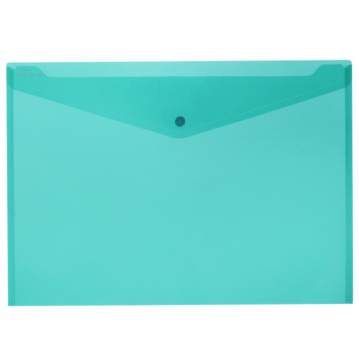 Папка-конверт на кнопке Snopake Polifile: Electra, цвет: бирюзовый, формат А3K11185