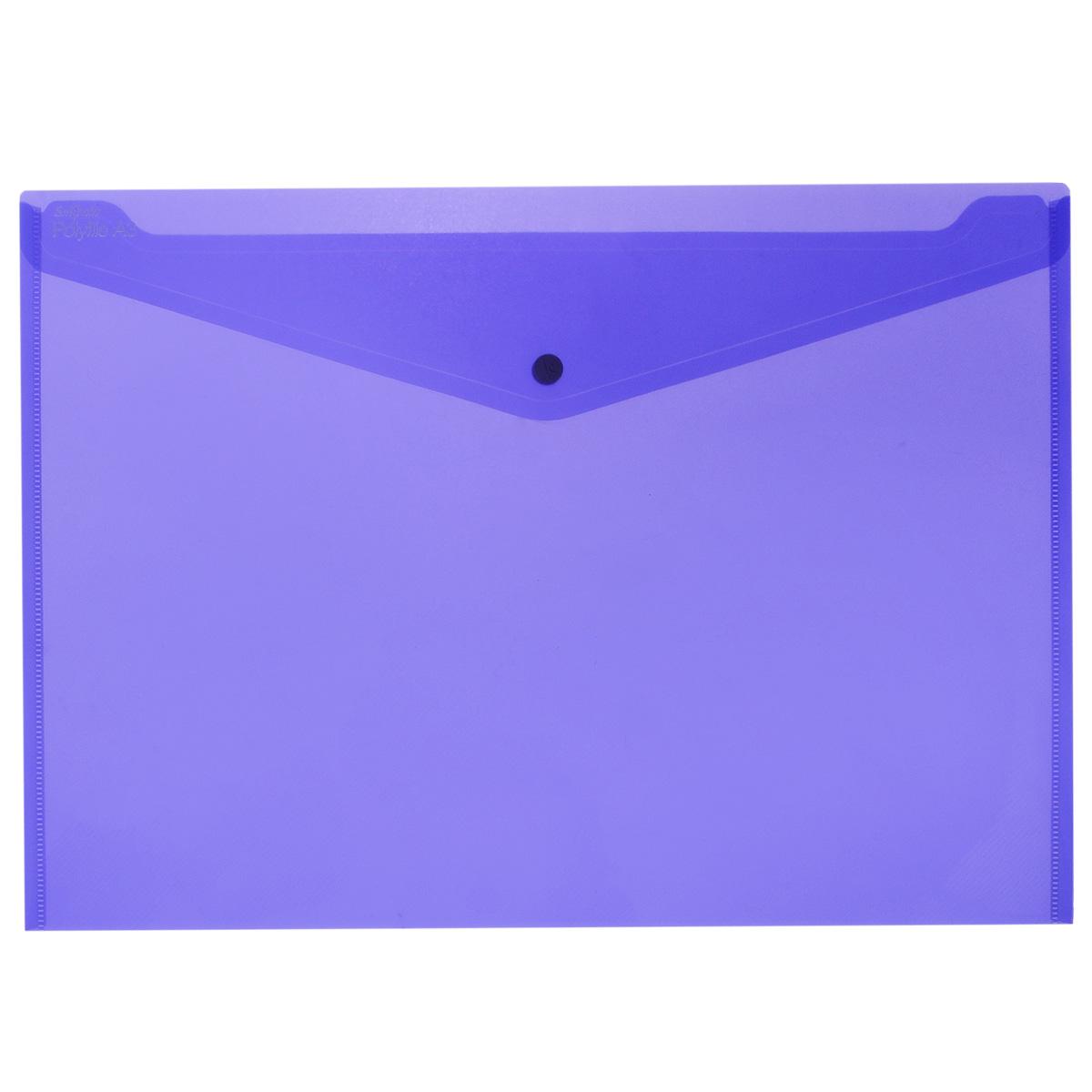 Папка-конверт на кнопке Snopake Polifile: Electra, цвет: сиреневый, формат А3K11185