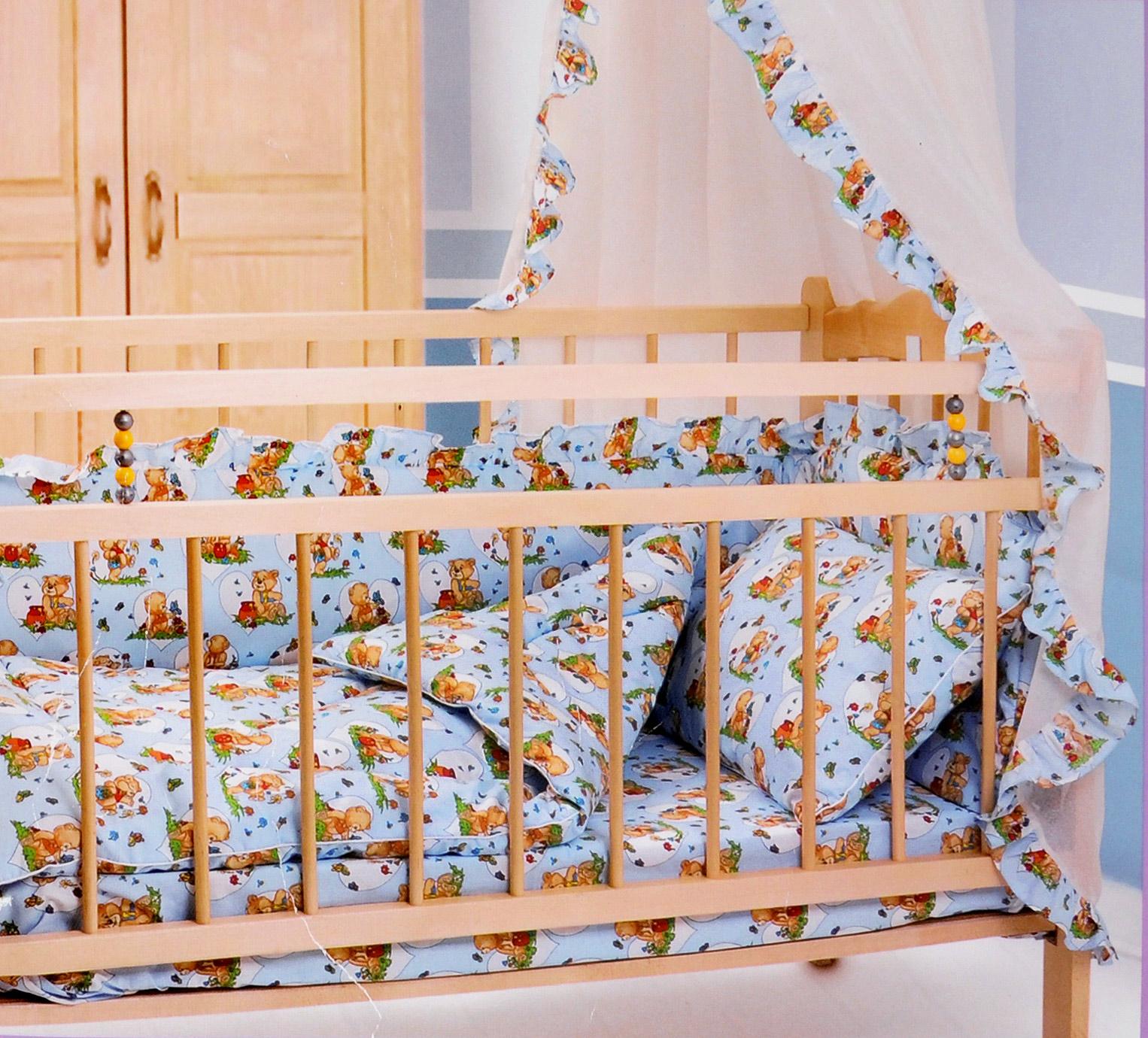 Комплект в кроватку Primavelle Кроха, цвет: голубой, 5 предметов601104005-18Комплект в кроватку Primavelle Кроха прекрасно подойдет для кроватки вашего малыша, добавит комнате уюта и согреет в прохладные дни. В качестве материала верха использованы 70% хлопка и 30% полиэстера. Мягкая ткань не раздражает чувствительную и нежную кожу ребенка и хорошо вентилируется. Подушка и одеяло наполнены гипоаллергенным экофайбером, который не впитывает запах и пыль. В комплекте - удобный карман на кроватку для всех необходимых вещей. Очень важно, чтобы ваш малыш хорошо спал - это залог его здоровья, а значит вашего спокойствия. Комплект Primavelle Кроха идеально подойдет для кроватки вашего малыша. На нем ваш кроха будет спать здоровым и крепким сном. Комплектация: - бортик (150 см х 35 см); - простыня (120 см х 180 см); - подушка (40 см х 60 см); - одеяло (110 см х 140 см); - кармашек (60 см х 45 см).