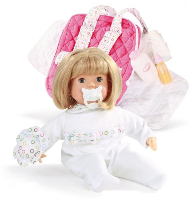 Gotz Пупс Ханна путешественница1320198Малышка Ханна в очаровательном костюмчике и множеством принадлежностей будет сопровождать ребенка на протяжении всего дня. С куклой можно играть и брать с собой на прогулку. Кукла Gotz приятна на ощупь и располагает к общению. Кукла в белом комбинезончике с узорами может принимать различные позы. Игрушку можно переодевать, укладывать спать и брать с собой на прогулку. Ребенок сможет придумать много интересных игр с приятной на ощупь игрушкой. У куклы Gotz мягкое тело, голова, руки и ножки из винила. Куклу приятно обнимать, прижимать к себе. Кукла Gotz полностью повторяет вид маленького ребенка. Детально проработанные положения пальчиков, мимика детского личика с голубыми закрывающимися глазами с ресницами располагают к общению, ребенок с удовольствием ощупывает и изучает игрушку. Кукла и аксессуары для игры выполнены из качественных, безопасных для игр детей материалов, которые соответствуют европейским стандартам качества. Пупс продается с аксессуарами в красивой подарочной упаковке....