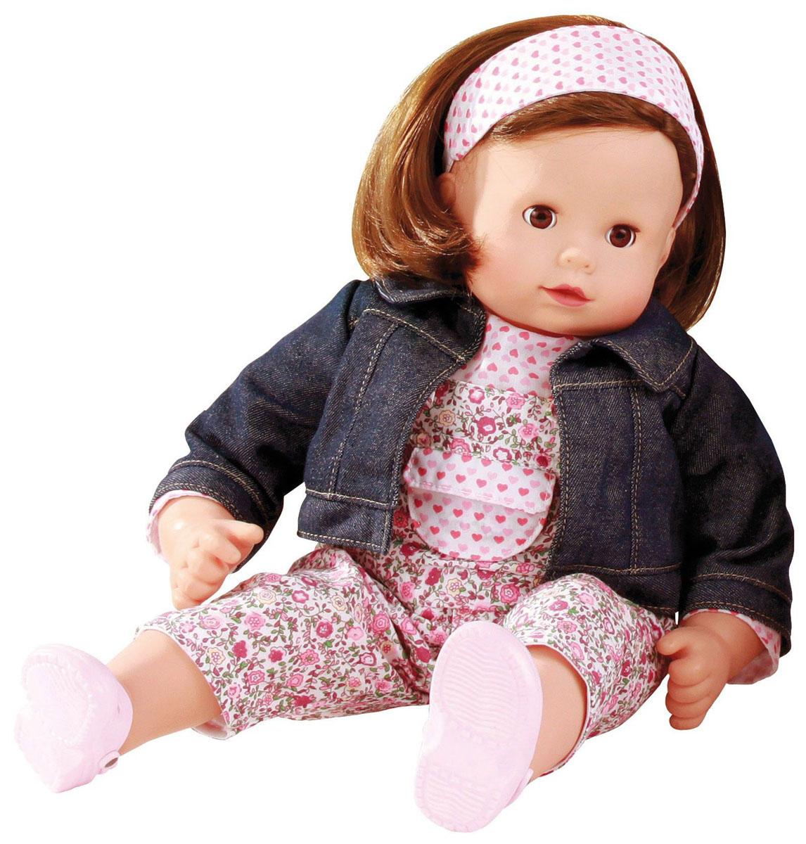 Gotz Кукла Макси-маффин шатенка1327168Кукла Макси-маффин станет замечательной подружкой для девочки, ведь ее удобно брать с собой и играть в разнообразные игры. Кукла немецкой фирмы Gotz создана с учетом потребностей подрастающих малышей, которые с интересом вступают в коммуникацию со сверстниками. Реалистичная кукла Gotz имеет мягкое тело и виниловую голову, ручки и ножки. Куклу можно сажать в любом положении, она подвижна, ее приятно обнимать и играть. У игрушки темные, густые волосы, которые позволяют делать прически, расчесывать и мыть ей голову. Малышка одета в яркий пестрый костюмчик и джинсовую курточку. Волосики куклы перевязаны широкой лентой в тон костюму, на ножках у нее - легкие летние ботиночки. Реалистичные черты лица и закрывающиеся глазки с ресницами позволяют ребенку погрузиться в атмосферу игр по настоящему сценарию, повторять сюжеты из жизни и заботиться о маленькой девочке.
