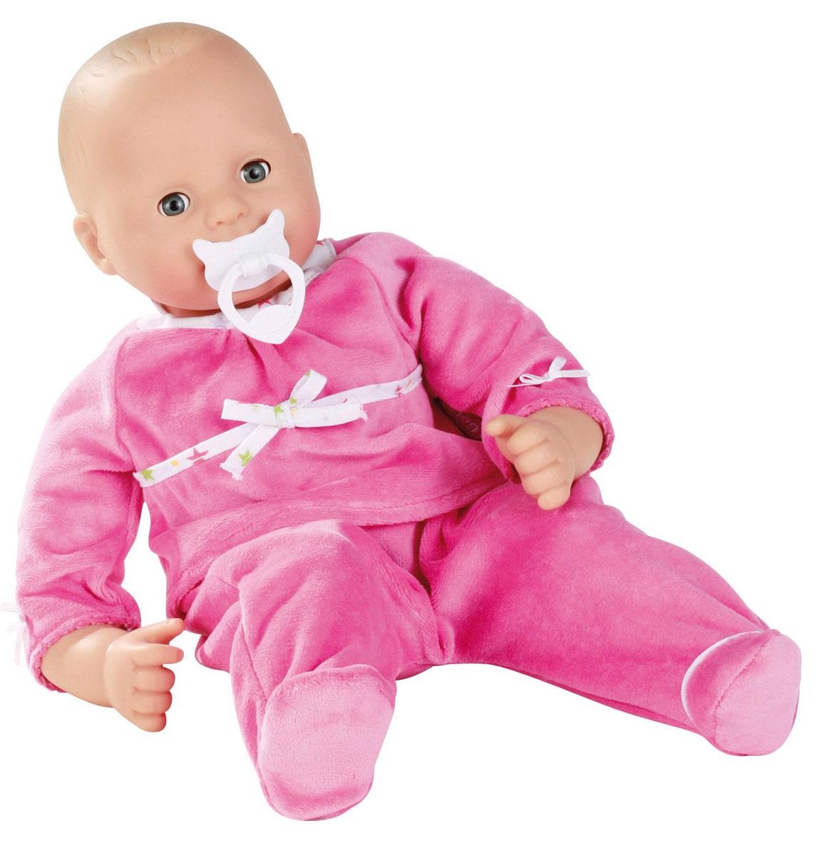 Gotz Пупс Макси-маффин в розовом костюме1327667Пупс Gotz Маффин станет верным другом ребенка и позволит проводить много часов в увлекательной игре с очаровательным созданием от немецкого бренда Gotz. Пупс в одежде для сна с мягким телом и виниловым личиком создан для активных игр детей дома или на улице. Кукле можно придавать различные позы, переодевать и укладывать спать. Кукла Gotz одета в розовый костюм: мягкая кофта с бантиком и ползунки. В комплекте с куклой есть соска. Голова, руки и ноги куклы выполнены из винила. Малыш имеет очаровательные черты лица: маленький рот и носик, широко раскрытые глазки, которыми он может моргать. Пупс не имеет волос. Кукла полностью безопасна и гипоаллергенна.