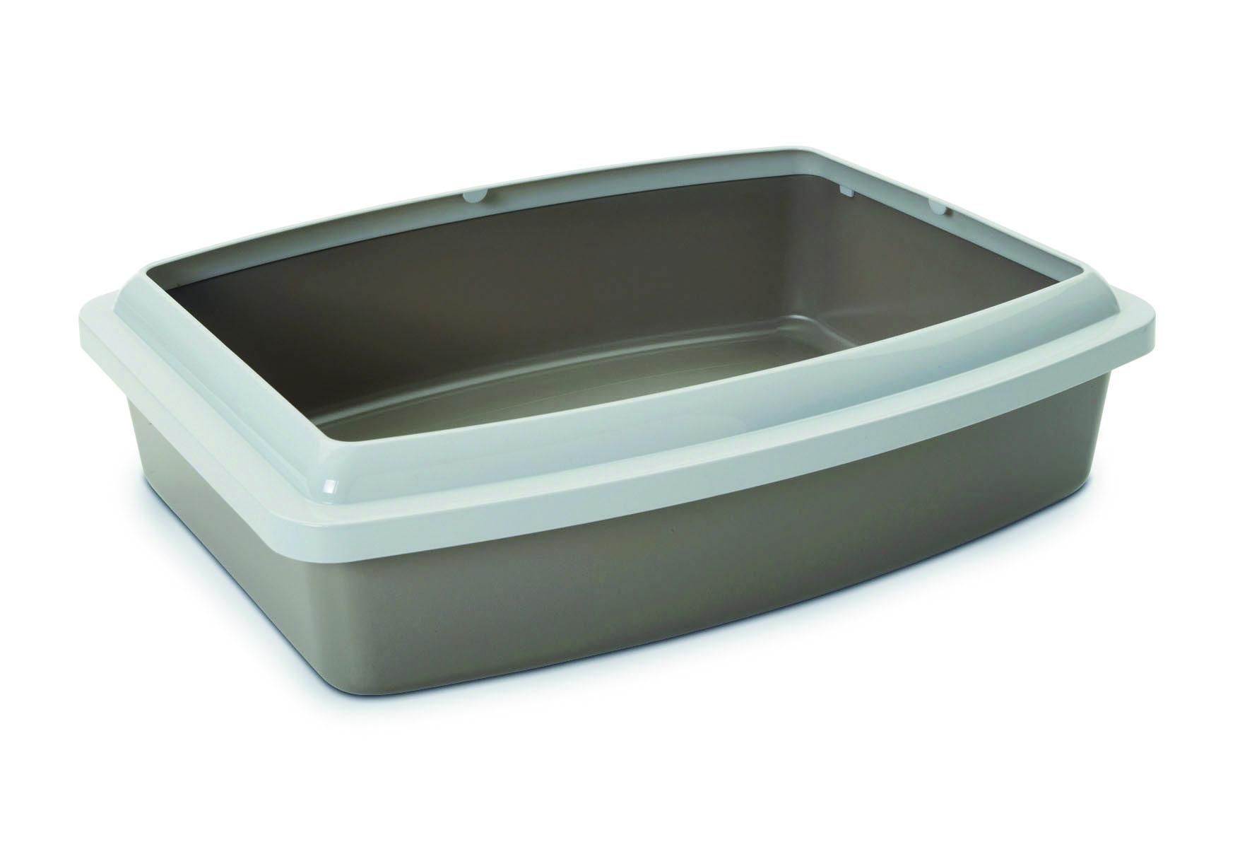 """Туалет для кошек Savic """"Oval Trey Medium"""", с бортом, цвет: серый, 42 см х 33 см"""