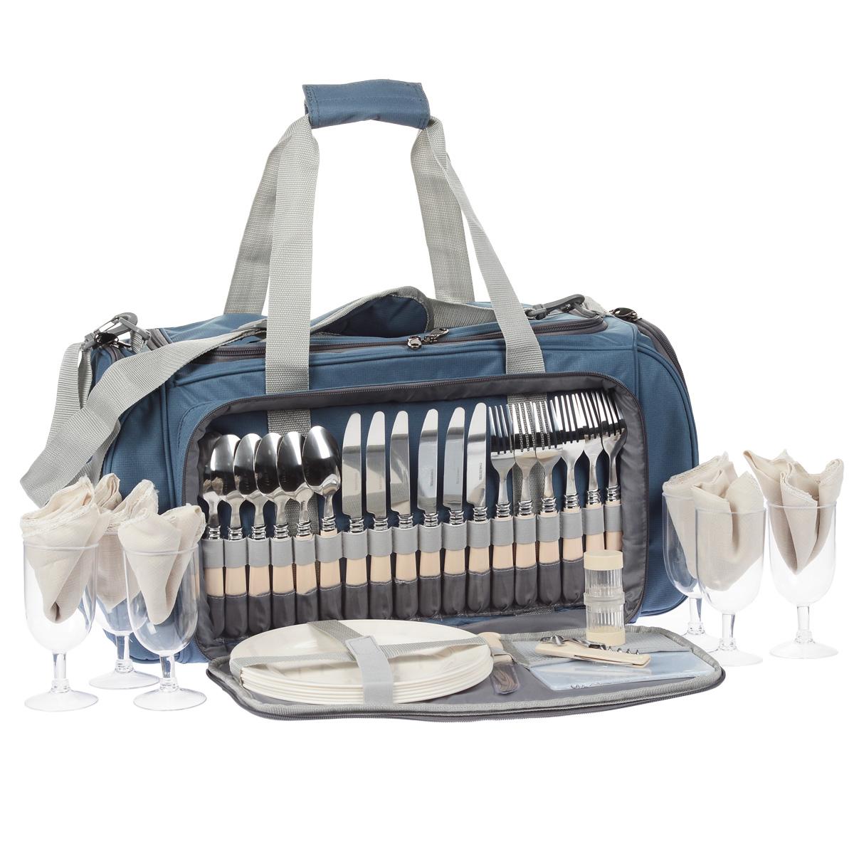 Термосумка Norfin Forssa, с посудой, цвет: голубой, серый, 57 см х 30 см х 29 смNFL-40107Сумка Norfin Vardo с набором для пикника на 6 персон и с легкомоющимся термоотделением для продуктов объемом 28 л. Сумка оснащена двойными ручками и регулируемым по длине наплечным ремнем. В комплект входит посуда и принадлежности для пикника: 6 ложек. 6 вилок. 6 ножей 6 тарелок. 6 бокалов. 6 тканевых салфеток. Разделочная доска. Открывалка-штопор. Солонка двухсекционная. Нож сырный. Длина ножей: 21 см. Длина вилок: 20 см. Длина ложек: 19 см. Диаметр тарелок: 23,5 см. Высота тарелок: 2 см. Диаметр бокалов: 6,5 см. Высота бокалов: 14 см. Размер салфеток: 34 см х 34 см. Размер разделочной доски: 18 см х 15 см. Длина открывалки-штопора: 11 см. Диаметр солонки: 3,5 см. Высота солонки: 8 см. Длина сырного ножа: 21 см. Размер сумки: 57 см х 30 см х 29 см.
