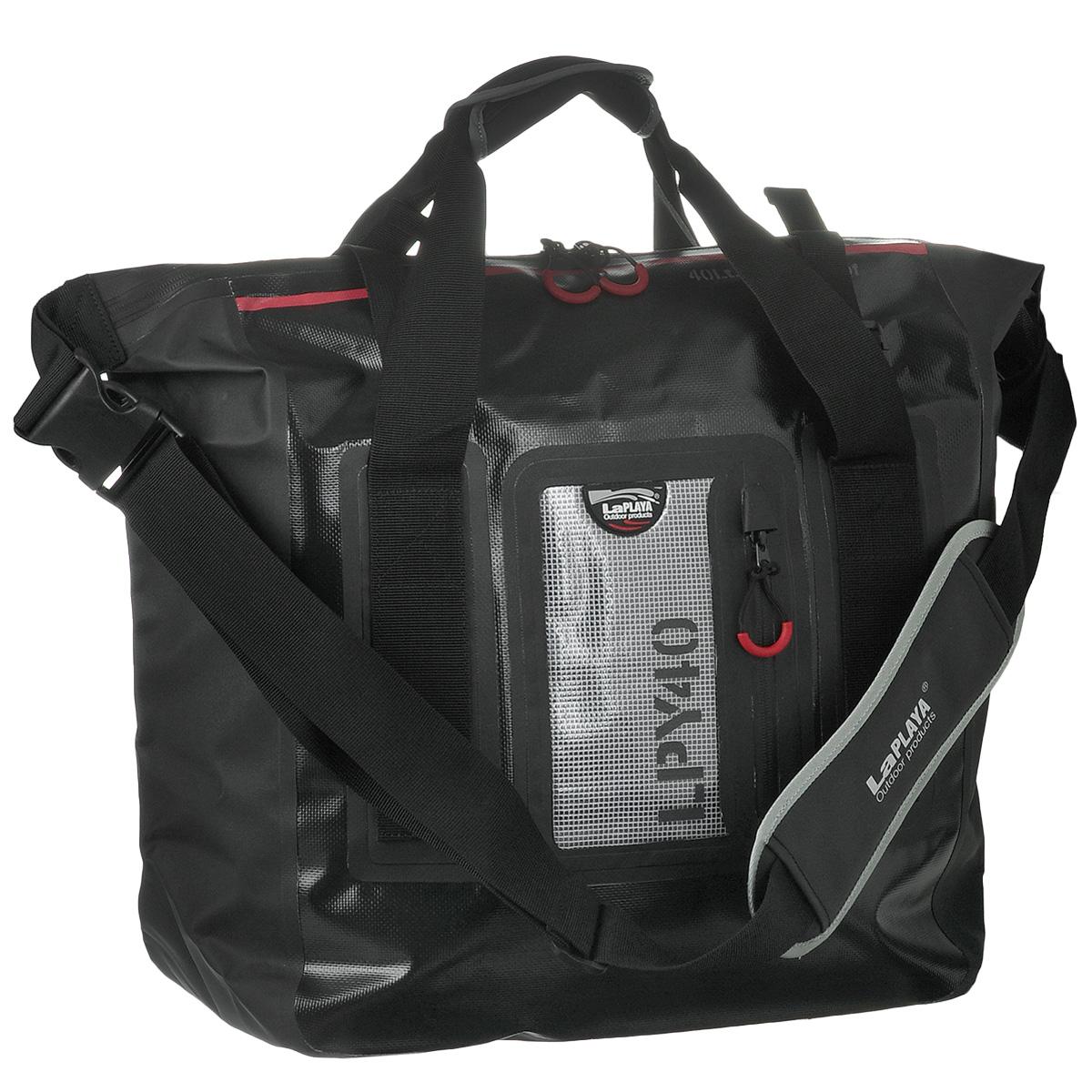 Сумка водонепроницаемая LaPlaya Square Bag, цвет: черный, 40 л800201Водонепроницаемая сумка LaPlaya Square Bag - незаменимая вещь для любителей туристических походов, кемпингов и отдыха на природе. Сумка выполнена из ПВХ (брезент + сетка). Метод термосварки швов обеспечивает 100% герметичность. Сумка имеет одно вместительное отделение, которое закрывается на водонепроницаемую молнию. Внутри содержится вшитый карман на молнии и 2 сетчатых кармашка. С лицевой стороны сумки расположен прозрачный карман, также с водонепроницаемой молнией, удобный для хранения документов, билетов и других бумаг. Сумка компактная, практичная и очень удобная, она снабжена плечевым ремнем с мягкой вставкой для плеча, а также двумя ручками. На ручках и ремне имеются светоотражающие элементы. Такая сумка - просто находка для экстремалов и любителей проводить много времени на открытом воздухе. LaPlaya DRY BAG - это функциональный и минималистичный дизайн, прочный материал и высокое качество технологии производства. Это все, что необходимо для выбора...