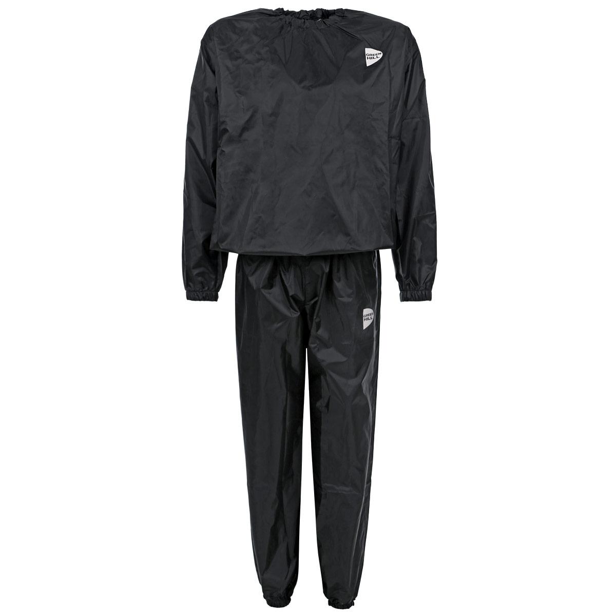 Костюм-сауна Green Hill, цвет: черный. Размер 50SS-3666Костюм-сауна Green Hill предназначен для интенсивного сброса веса во время тренировок. Костюм выполнен из полиэстера черного цвета. Состоит из штанов и куртки с длинным рукавом. Пояс и манжеты куртки и штанов на резинках, что обеспечивает более плотное прилегание к телу.