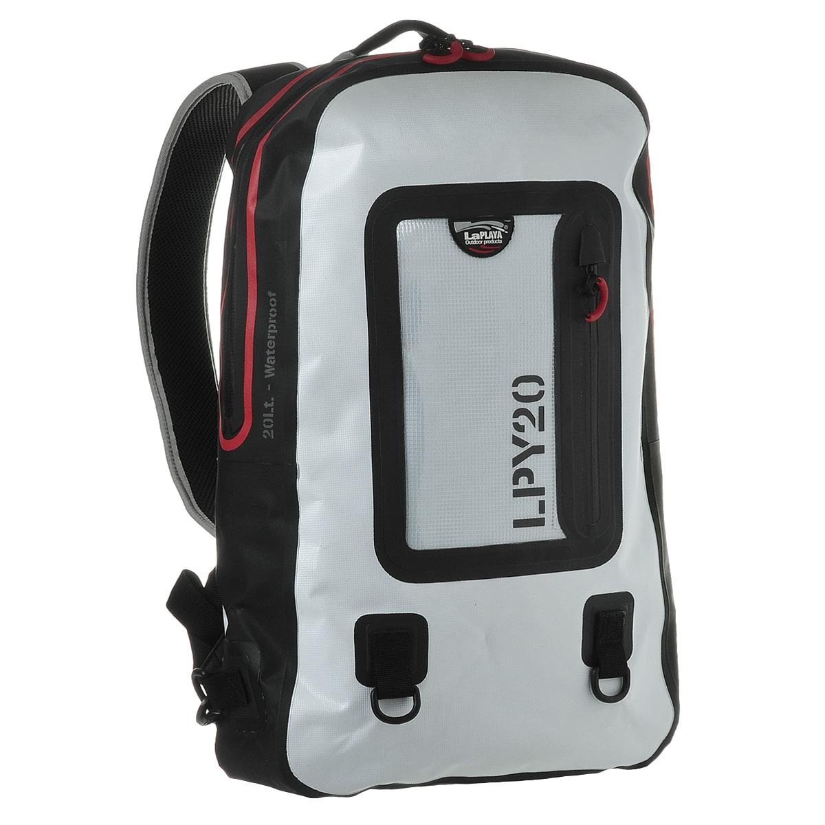 Рюкзак водонепроницаемый LaPlaya, цвет: белый, 20 л800802Водонепроницаемый рюкзак LaPlaya - незаменимая вещь для любителей туристических походов, кемпингов и отдыха на природе. Рюкзак выполнен из ПВХ (брезент + сетка). Метод термосварки швов обеспечивает 100% герметичность. Рюкзак закрывается на водонепроницаемую молнию, которая не позволит воде проникнуть внутрь. Внутри содержится съемное противоударное отделение для ноутбука или планшета с карманом на молнии на передней стенке, а также вшитый карман на молнии и 2 сетчатых кармашка. С лицевой стороны рюкзака расположен прозрачный карман, также с водонепроницаемой молнией, очень удобный для хранения документов, билетов и других бумаг. Рюкзак компактный, практичный и очень удобный, он снабжен мягкой спинкой, плечевыми ремнями регулируемой длины и дополнительными съемными креплениями. Также имеется два кольцами для крепления аксессуаров на карабинах. Такой рюкзак - просто находка для экстремалов и любителей проводить много времени на открытом воздухе. LaPlaya DRY BAG...
