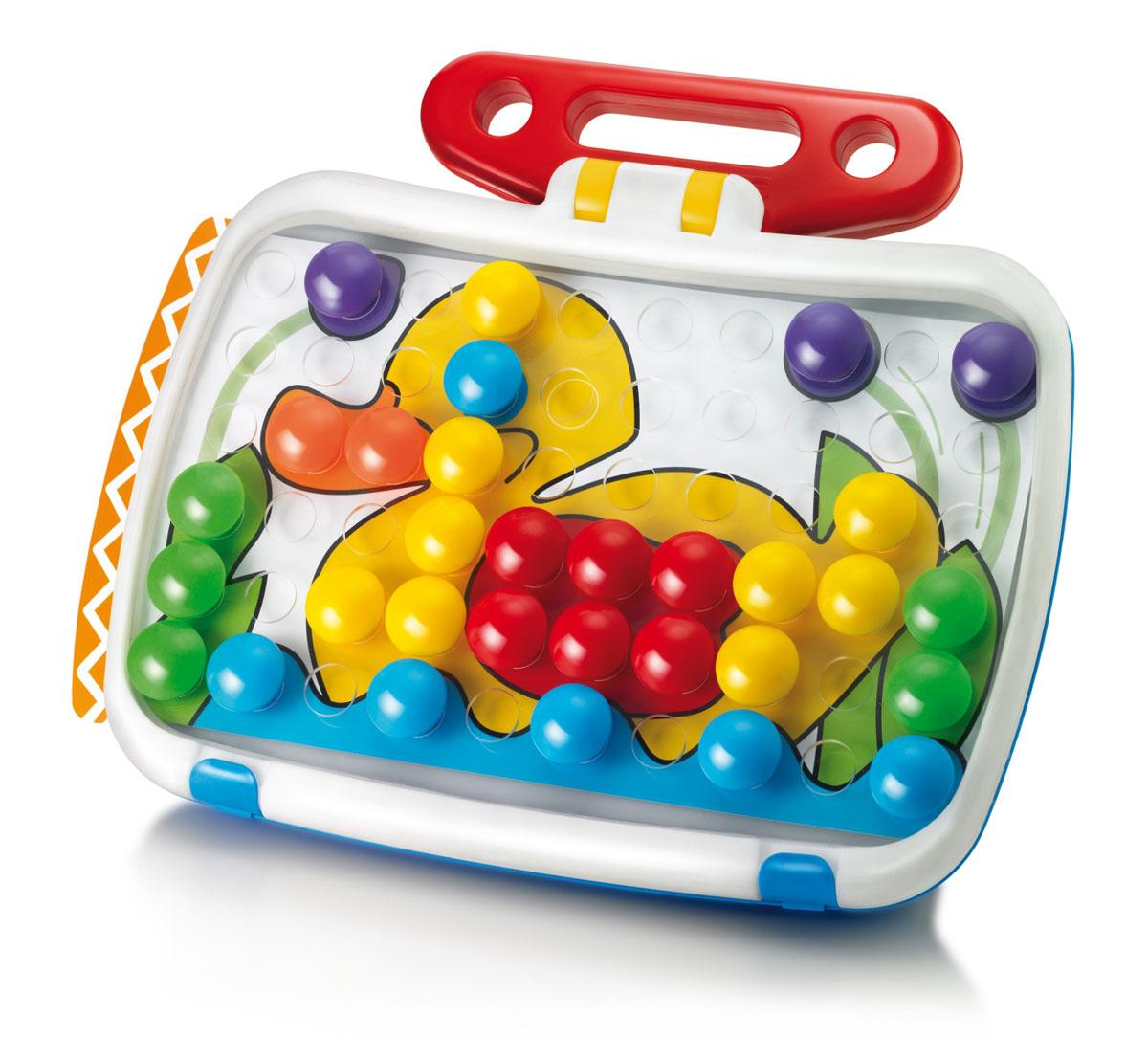 Мозаика для малышей в чемоданчике Комби Джуниор из 60 элементов с доской для рисования.4199Комби Юниор Удивительный набор, включающий в себя классическую мозаику с одной стороны и доску для рисования с другой, в удобном кейсе с ручкой. Юниор Combi - экстраординарная образовательная игрушка, которая стимулирует творческий потенциал Вашего ребенка, развивая зрительно-моторную координацию, цветное восприятие и мелкую моторику. Для детей от 4-х лет. Производство Италия.