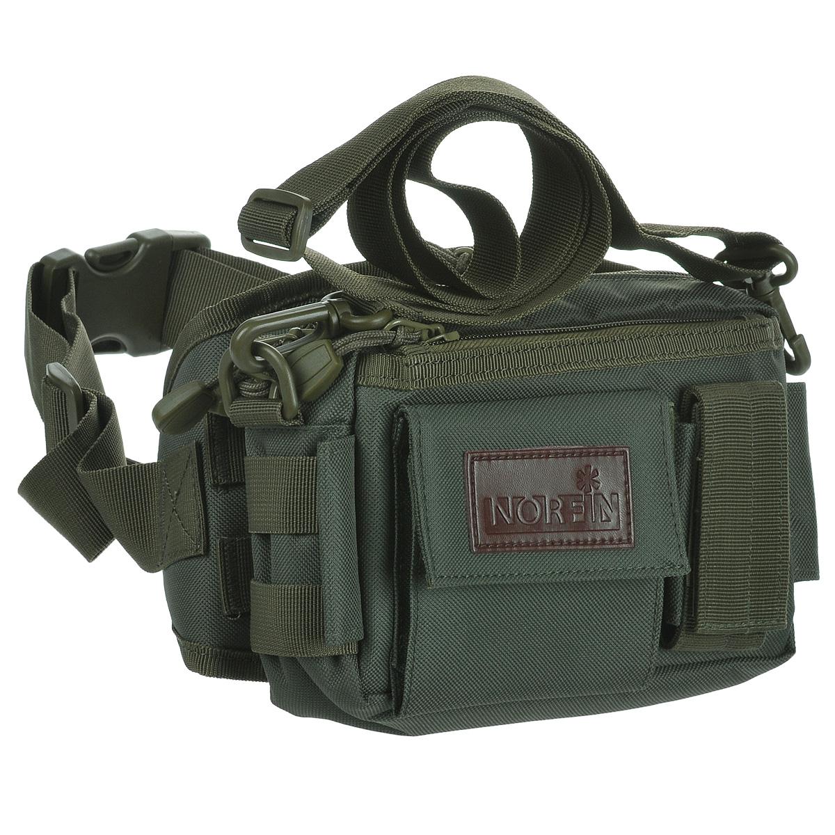 Сумка поясная Norfin Tactic 01, цвет: зеленый, 14 см х 9 см х 17,5 смNF-40217Тактическая поясная сумка Norfin Tactic 01 выполнена из прочного полиэстера. Сумку можно носить отдельно от пояса, прикрепив плечевой ремень. Имеется одно внутреннее отделение с сетчатым карманом и внешний карман на молнии. Два фронтальных накладных кармана с клапанами.
