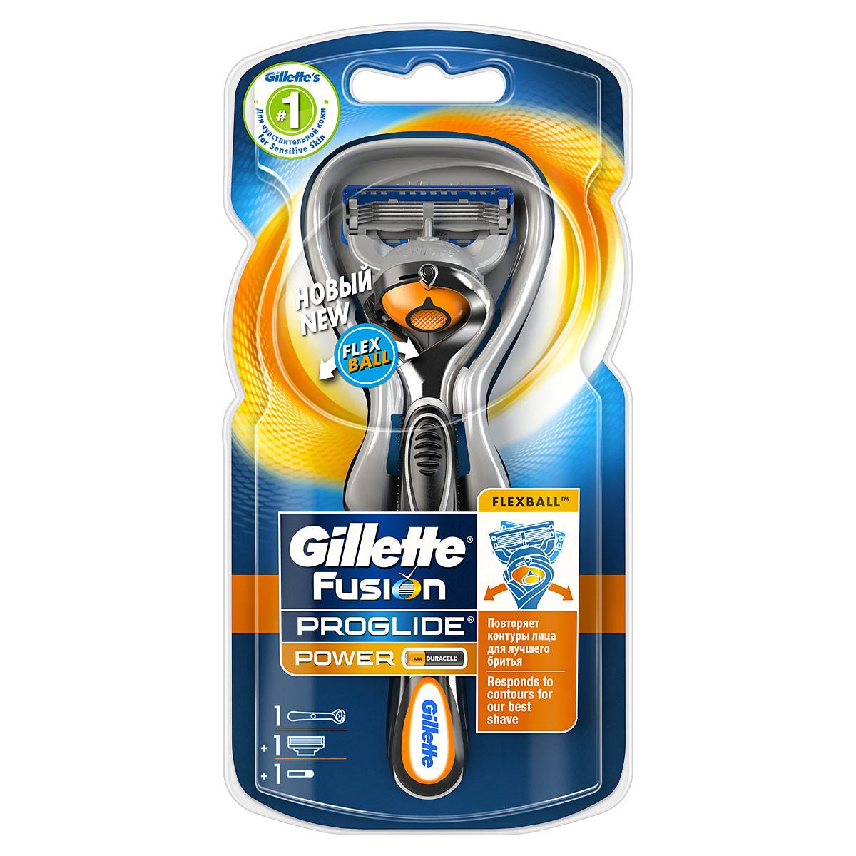 Gillette Бритва Fusion ProGlide Power с технологией FlexBall (без дополнительных сменных кассет)GIL-81523294Технология FlexBall — ИННОВАЦИЯ от Gillette, позволяющая бритве двигаться в дополнительной плоскости. Следует контурам твоего лица для лучшего бритья от Gillette. Сбривает буквально каждый волосок. Продукты Fusion ProGlide — лучшее бритье от Gillette! Используйте вместе со средствами для бритья Gillette Fusion ProGlide с формулой «2-в-1» (гель для бритья + уход за кожей) для достижения наилучшего результата. Характеристики продукта: - Самые тонкие лезвия Gillette для революционного скольжения и гладкости бритья (первые четыре лезвия по сравнению с Fusion). - Кассета с пятью лезвиями обеспечивает меньшее давление на кожу, уменьшая раздражение (по сравнению с Mach3). - Увеличенная смазывающая полоска с добавлением минеральных масел (по сравнению с Fusion). - Каналы для удаления излишков геля. - Улучшенное лезвие-триммер на обратной стороне кассеты (по сравнению с Fusion). - Стабилизатор лезвий. - Микроимпульсы Power снижают сопротивление во время бритья. - Микрорасческа направляет...