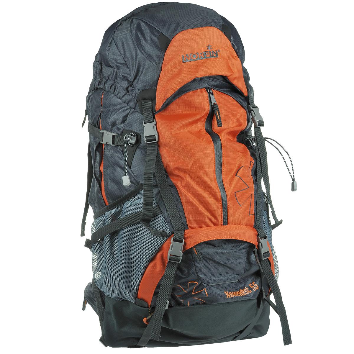 Рюкзак туристический Norfin NeweRest, цвет: серый, оранжевый, 55 лNS-40206Туристический функциональный 55-литровый рюкзак Norfin NeweRest отлично подойдет для походов и путешествий. Особенности рюкзака: Анатомический съемный пояс с карманами. Отлично сидит на бедрах, хорошо перераспределяет нагрузку Регулируемая подвесная система W-1 с вентиляцией спины Плечевые лямки с перфорированным наполнителем EVA для смягчения Грудная стяжка Алюминиевые латы Выход под питьевую систему Основное отделение с разделителем на молнии позволит удобно распределить содержимое рюкзака Верхний и нижний входы в основное отделение Большие боковые карманы на молнии, боковые сетчатые карманы Большой фронтальный карман с водонепроницаемой молнией Плавающий верхний клапан с внешним и внутренним карманами Чехол-дождевик в кармане на дне Возможность крепления горного снаряжения.
