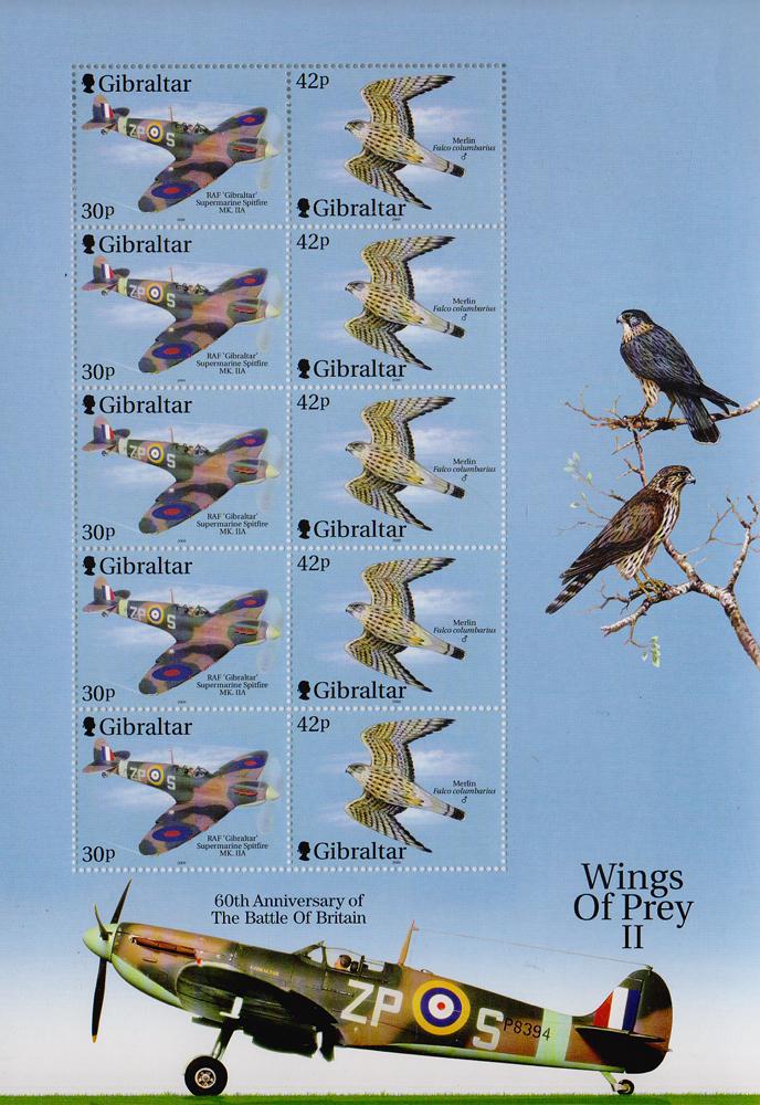 Малый лист из 10 марок Крылатые хищники 2. Гибралтар, 2000 год401306Малый лист из 10 марок Крылатые хищники. Гибралтар, 2000 год. Размер листа: 21 х 14.5 см. Размер марок: 3 х 4 см. Сохранность хорошая.