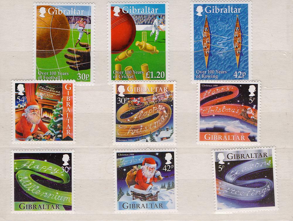 Комплект из 9 марок Спорт и Рождество-2000. Гибралтар, 2000 год401306Комплект из 9 марок Спорт и Рождество-2000. Гибралтар, 2000 год. Размер марок: 3 х 3 см и 4 х 3 см. Сохранность хорошая.