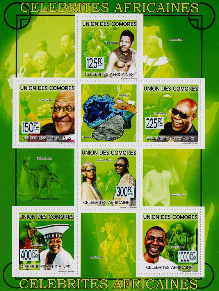 Малый лист Знаменитые африканцы. Союз Коморских островов, 2009 год691503Малый лист Знаменитые африканцы. Союз Коморских островов, 2009 год. Размер листа: 18 х 13.5 см. Размер марок: 4 х 4 см. Сохранность хорошая.