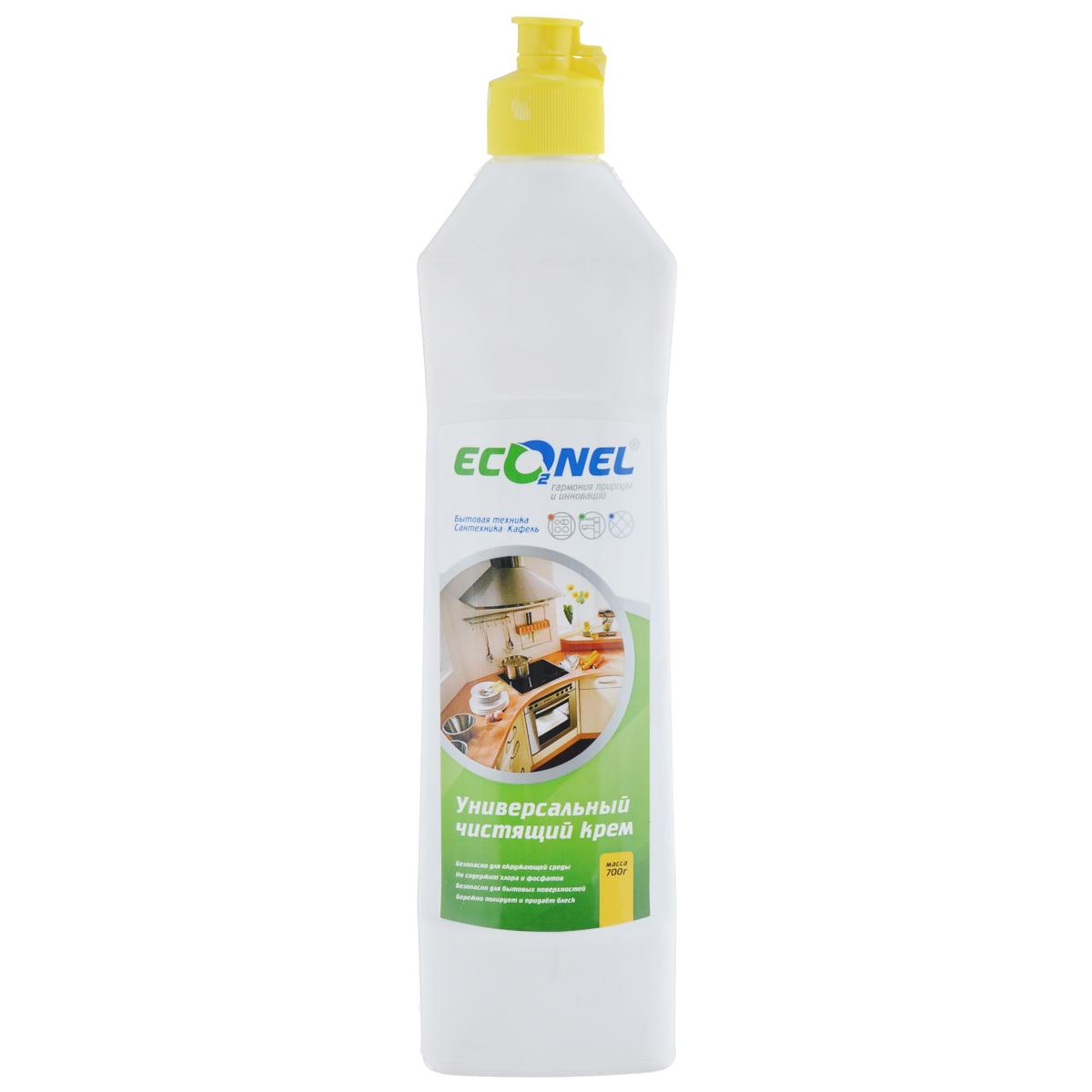 Крем чистящий Econel, универсальный, 700 г870240Универсальное чистящее средство Econel деликатно и эффективно удалит стойкую грязь, жировые и известковые налеты, остатки пригоревшей еды и прочие загрязнения, характерные для кухни и ванной комнаты. Идеально подходит для чистки эмалированных, хромированных поверхностей, изделий из стекла, нержавеющей стали, фарфора, фаянса, серебра. Благодаря мягкой абразивной текстуре кремообразное средство проникает в структуру загрязнения, устраняет ее, не причиняя вреда очищаемой поверхности. Состав: менее 5%: анионные поверхностно-активные вещества, неионогенные поверхностно-активные вещества, кислота олеиновая, натр едкий, полиоксихлорид алюминия, консервант, ароматизирующая добавка; более 30%: мягкий абразивный наполнитель, вода очищенная.