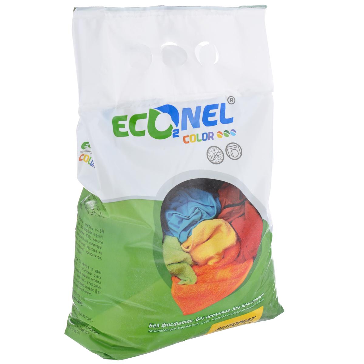 Стиральный порошок Econel Color, автомат, для цветного белья, 3 кг870143Стиральный порошок Econel Color предназначен для стирки белья из льняных, синтетических, хлопчатобумажных тканей и тканей из смешанных волокон в автоматических стиральных машинах в воде любой жесткости. Полностью биоразлагаемый порошок, не наносит вреда окружающей среде. Современное производство не образует пыли, которая может раздражать дыхательные пути. Высокоэффективная стирка за счет содержания современных активных компонентов. Эффективен даже при низких температурах стирки. Сохраняет цвет вещей после многократных стирок. Не содержит искусственных отдушек и красителей, не вызывает аллергию. Защищает стиральную машину от накипи. Состав: природные материалы (более 15% сульфата натрия, карбонат натрия), 5-15% биоразлагаемые АПАВ, силикаты натрия, функциональные полимеры, натуральные активные вещества на основе растительных компонентов, ингибитор переноса красителя, отдушка.