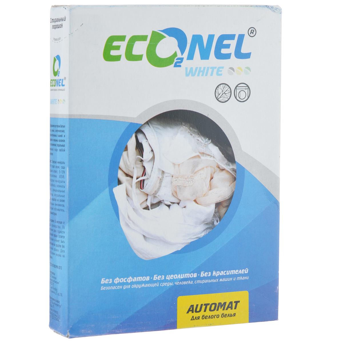 Стиральный порошок Econel White, автомат, для белого белья, 400 г870139Стиральный порошок Econel White предназначен для стирки белья из льняных, синтетических, хлопчатобумажных тканей и тканей из смешанных волокон в автоматических стиральных машинах в воде любой жесткости. Полностью биоразлагаемый порошок, не наносит вреда окружающей среде. Современное производство не образует пыли, которая может раздражать дыхательные пути. Высокоэффективная стирка за счет содержания современных активных компонентов. Эффективен даже при низких температурах стирки. Сохраняет цвет вещей после многократных стирок. Не содержит искусственных отдушек и красителей, не вызывает аллергию. Защищает стиральную машину от накипи. Состав: природные материалы (более 15% сульфата натрия, сода, карбонат натрия); 5-15% биоразлагаемые АПАВ; природные материалы (перкарбонаты, силикаты натрия); функциональные полимеры; натуральные активные вещества на основе растительных компонентов; оптический отбеливатель; натуральная отдушка.