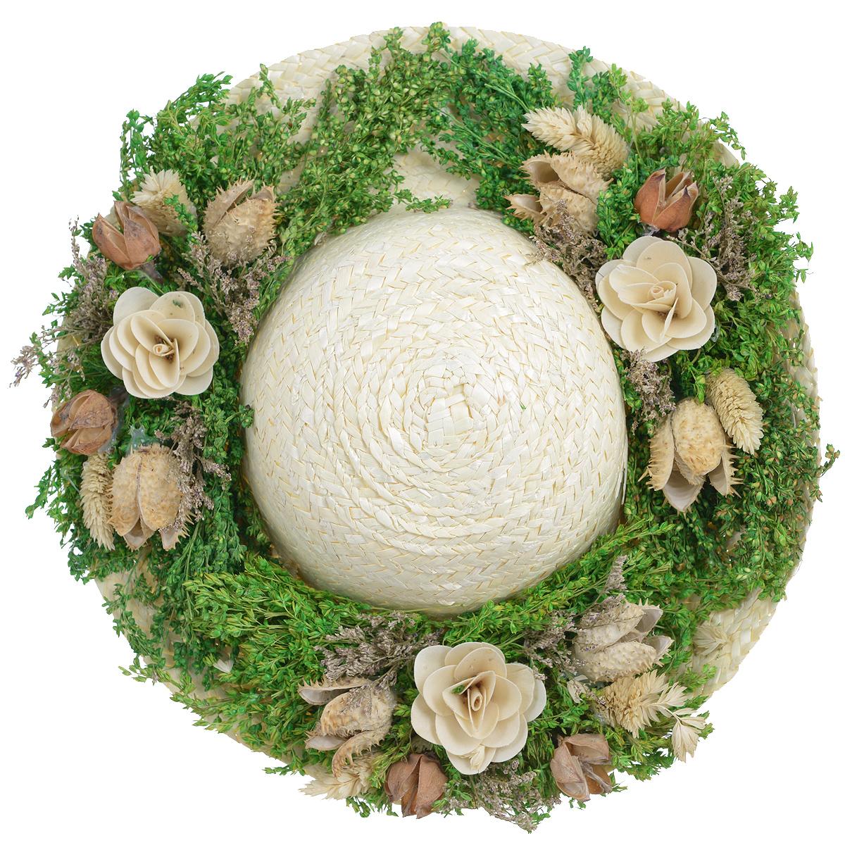 Декоративное настенное украшение Lillo Шляпа с цветами, цвет: светло-бежевый, зеленый, белыйAF 03127Декоративное подвесное украшение Lillo Шляпа с цветами выполнено из натуральной соломы и украшено сухоцветами. Такая шляпа станет изящным элементом декора в вашем доме. С задней стороны расположена петелька для подвешивания. Такое украшение не только подчеркнет ваш изысканный вкус, но и прекрасным подарком, который обязательно порадует получателя. Размер шляпы: 29 см х 29 см х 7,5 см.