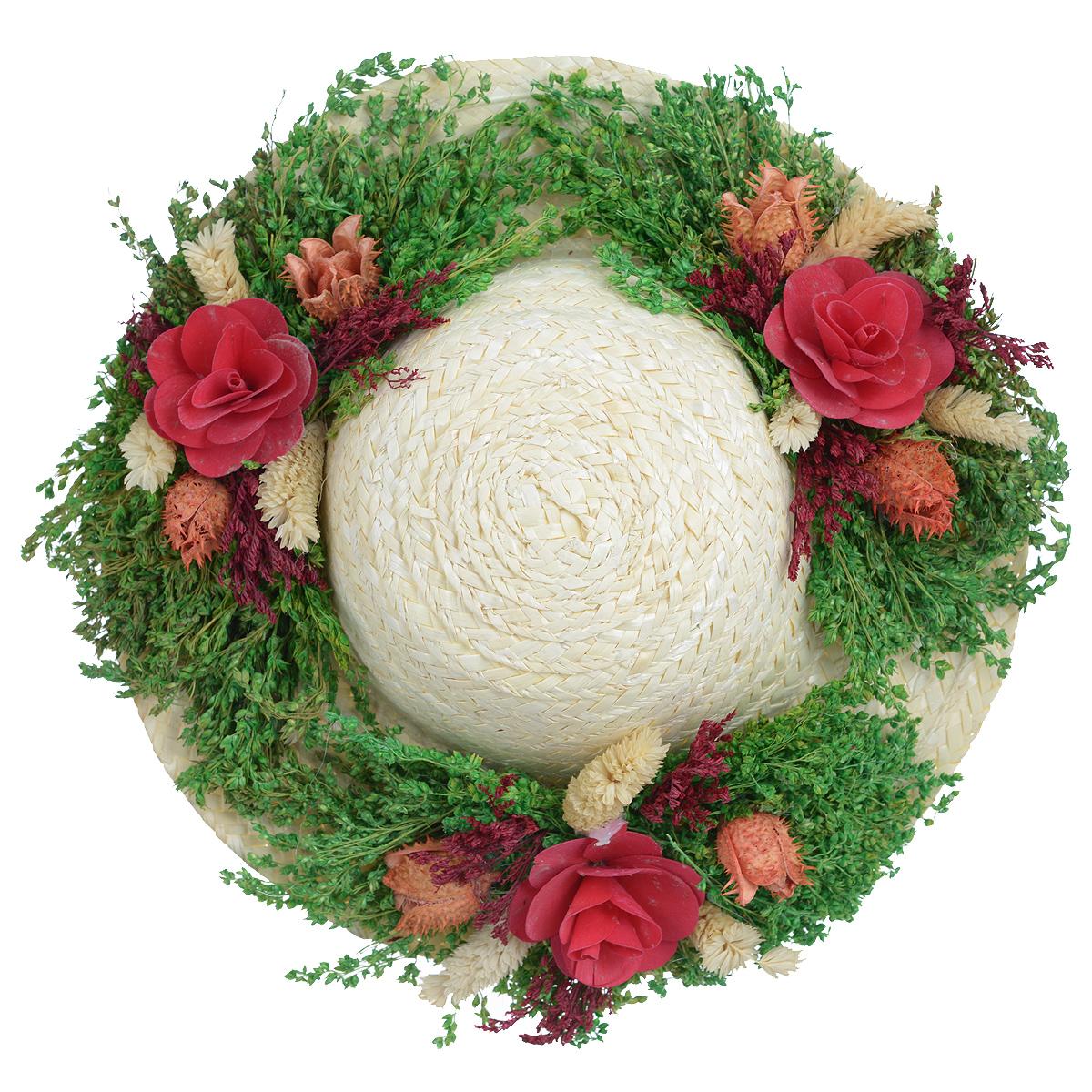 Декоративное настенное украшение Lillo Шляпа с цветами, цвет: светло-бежевый, зеленый, красныйAF 03127Декоративное подвесное украшение Lillo Шляпа с цветами выполнено из натуральной соломы и украшено сухоцветами. Такая шляпа станет изящным элементом декора в вашем доме. С задней стороны расположена петелька для подвешивания. Такое украшение не только подчеркнет ваш изысканный вкус, но и прекрасным подарком, который обязательно порадует получателя. Диаметр шляпы: 29 см.