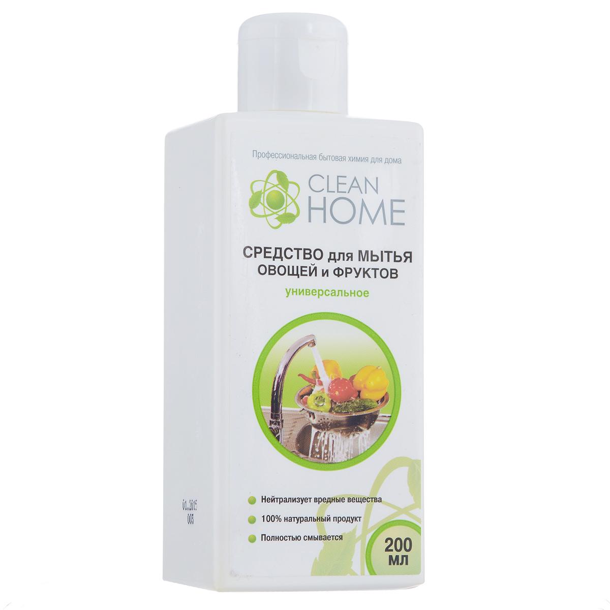 Средство Clean Home, для мытья овощей и фруктов, 200 мл412Антибактериальное средство Clean Home предназначено для мытья фруктов и овощей, для безопасного обеззараживания плодов. Эффективно удаляет и смывает с поверхности фруктов и овощей вредные пестициды, гербициды, инсектициды, следы парафина и воска. Гель эффективно растворяется как в горячей, так и холодной воде. Полностью безопасен и смываем, не содержит ароматизаторов, гипоаллергенный. Линия профессиональной бытовой химии для дома Clean Home представлена гаммой средств для стирки и уборки дома. Clean Home - это весь необходимый ряд высокоэффективных универсальных средств европейского качества. Состав: вода, композиция фруктовых кислот, экстракт ромашки, экстракт мяты, менее 5% НПАВ, функциональные добавки, эфирное масло лимона.