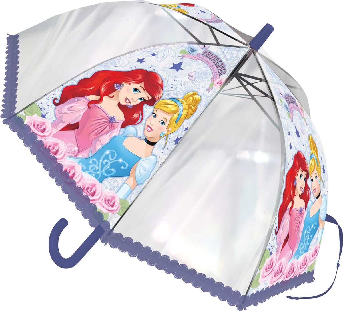"""Зонт-трость детский """"Disney Princess"""", цвет: сиреневый, голубой, розовый PRCS-UA1-U8G"""