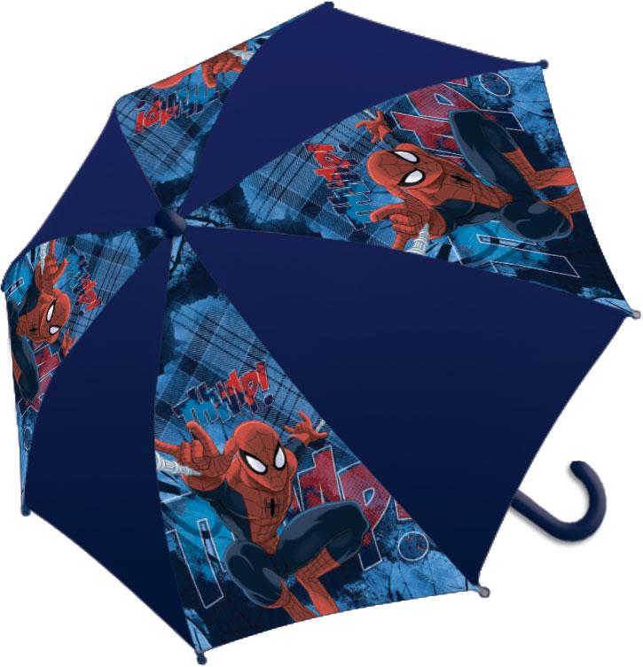 Зонт-трость детский Spider-Man, цвет: темно-синийSMCS-UA1-U8Яркий детский зонт-трость Spider-Man станет замечательным подарком вашему ребенку и доставит ему много удовольствия. Его форма надежно защитит ребенка в дождливую погоду. Все выступающие металлические части закрыты пластиком, что является защитой от возможных повреждений. Купол зонта выполнен из полиэфирного эластомера и оформлен ярким рисунком. Закрывается хлястиком на кнопку. Каркас зонта выполнен из восьми металлических спиц и оснащен удобной закругленной пластиковой рукояткой. Зонт раскладывается автоматически и складывается механически.