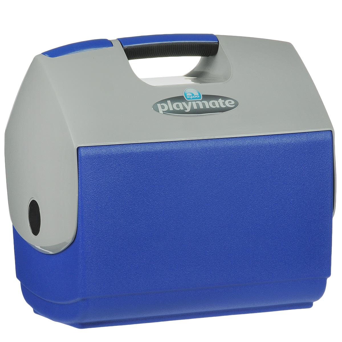 Изотермический контейнер Igloo Playmate Elite, цвет: синий, 15 л43231Легкий и прочный изотермический контейнер Igloo Playmate Elite, изготовленный из высококачественного пластика, предназначен для транспортировки и хранения продуктов и напитков. Корпус гладкий, эргономичного дизайна, ударопрочный. Поддержание внутреннего микроклимата обеспечивается за счет термоизоляционной прокладки из пены Ultra Therm, способной удерживать температуру внутри корпуса до 24 часов. Для поддержания температуры рекомендуется использовать аккумуляторы холода (в комплект не входят). Контейнер имеет удобную ручку и распахивающуюся крышку для легкого доступа к продуктам. Крышка плотно и герметично закрывается. Оригинальный замок на крышке Playmate-Realise позволяет открывать контейнер одной рукой. Такой контейнер можно взять с собой куда угодно: на отдых, пикник, кемпинг, на дачу, на рыбалку или охоту и т.д. Идеальный вариант для отдыха на природе.