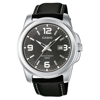 Часы наручные мужские Casio, цвет: стальной, черный. MTP-1314PL-8AMTP-1314PL-8AСтильные мужские часы Casio, выполнены из гипоаллергенной латуни, металлического сплава, натуральной кожи и минерального стекла. Циферблат часов дополнен символикой бренда. Часы оснащены кварцевым механизмом, имеют степень влагозащиты равную 5 atm, а также дополнены устойчивым к царапинам минеральным стеклом и индикатором даты. Стрелки часов дополнены светящимся составом. Ремешок часов оснащен классической пряжкой, которая позволит с легкостью снимать и надевать изделие. Часы поставляются в фирменной упаковке. Часы Casio подчеркнут отменное чувство стиля своего обладателя.