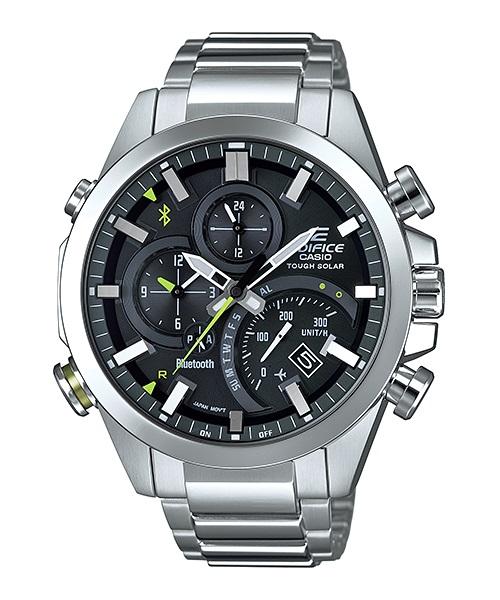 Часы мужские наручные Casio, цвет: стальной, черный. EQB-500D-1AEQB-500D-1AСтильные мужские часы Casio EDIFICE выполнены из нержавеющей стали и минерального стекла. Изделие оформлено символикой бренда. В часах предусмотрен аналоговый отсчет времени. Часы оснащены Bluetooth и функцией Mobile Link, которая позволяет синхронизировать часы с смартфоном для автоматической корректировки времени. Функция секундомера позволит замерять прошедшее время в пределах тысячи часов с точностью 1/100 секунды, предусмотрен будильник. Степень влагозащиты 20 atm. Изделие дополнено стальным браслетом, который застегивается замок-клипсу, позволяющий максимально комфортно и быстро снимать и одевать часы. Часы поставляются в фирменной упаковке. Многофункциональные часы Casio EDIFICE подчеркнут мужской характер и отменное чувство стиля у их обладателя.