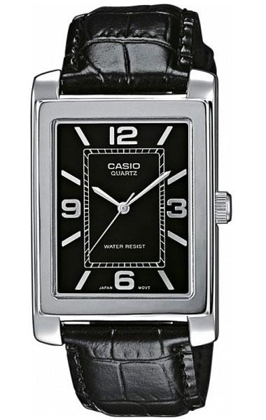 Часы наручные мужские Casio, цвет: стальной, черный. MTP-1234PL-1AMTP-1234PL-1AСтильные мужские часы Casio выполнены из нержавеющей стали, минерального стекла и натуральной кожи. Циферблат изделия оформлен символикой бренда. Часы оснащены полированным ударостойким корпусом, устойчивым к царапинам минеральным стеклом, а также степенью влагозащиты 5 atm. Часы дополнены ремнем из натуральной кожи с тиснением под рептилию и пряжкой, которая позволит максимально комфортно и быстро снимать и одевать часы. Изделие поставляется в фирменной упаковке. Часы Casio подчеркнут мужской характер и отменное чувство стиля у их обладателя.