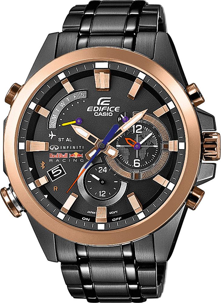 Часы мужские наручные Casio, цвет: стальной, золотой. EQB-510RBM-1AEQB-510RBM-1AСтильные мужские часы Casio EDIFICE выполнены из нержавеющей стали и минерального стекла. Изделие оформлено символикой бренда. В часах предусмотрен аналоговый отсчет времени. Часы оснащены Bluetooth и функцией Mobile Link, которая позволяет синхронизировать часы с смартфоном для автоматической корректировки времени. Функция мирового времени позволяет мгновенно выяснять текущее время в любой точке земного шара. Часы могут быть настроены на подачу тонального или светового сигнала при наступлении выставленного времени. Функция таймера позволит обеспечить обратный отсчет времени, начиная с выставленного и подачу тонального или светового сигнала, когда отсчет доходит до нуля. Функция секундомера позволит замерять прошедшее время в пределах тысячи часов с точностью 1/100 секунды, предусмотрен будильник. Дополнительные функции: барометр, цифровой компас, альтиметр, термометр, будильник. Степень влагозащиты 20 atm. Изделие дополнено стальным браслетом, который застегивается...