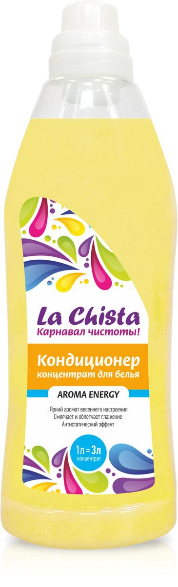 Кондиционер для белья La Chista Aroma Energy, концентрат, 1 л870285Кондиционер La Chista Aroma Energy, предназначен для смягчения хлопчатобумажных, шерстяных, льняных и синтетических изделий. После стирки вещи приобретают особую мягкость, тонкий аромат свежести и легко поддаются глажке. Кондиционер безопасен при контакте с кожей человека. Сохраняет первоначальный вид и яркость вещей. Удаляет с ткани остатки стирального порошка. Обладает эффектом антистатика. Состав: вода, 5-15% катионного ПАВ, кальций хлористый, парфюмерная композиция, консервант, краситель.