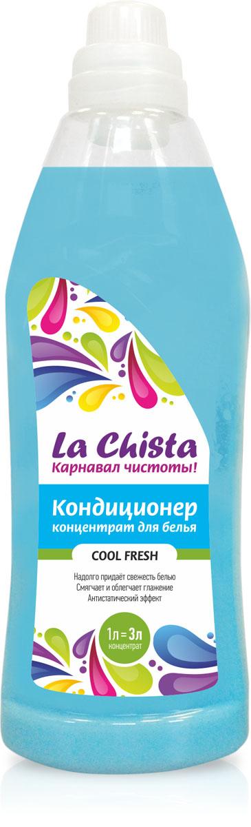 Кондиционер для белья La Chista Cool Fresh, концентрат, 1 л870286Кондиционер La Chista Cool Fresh, предназначен для смягчения хлопчатобумажных, шерстяных, льняных и синтетических изделий. После стирки вещи приобретают особую мягкость, тонкий аромат свежести и легко поддаются глажке. Кондиционер безопасен при контакте с кожей человека. Сохраняет первоначальный вид и яркость вещей. Удаляет с ткани остатки стирального порошка. Обладает эффектом антистатика. Экономичный расход, 1 л = 3 л. Состав: вода, 5-15% катионного ПАВ, кальций хлористый, парфюмерная композиция, консервант, краситель.